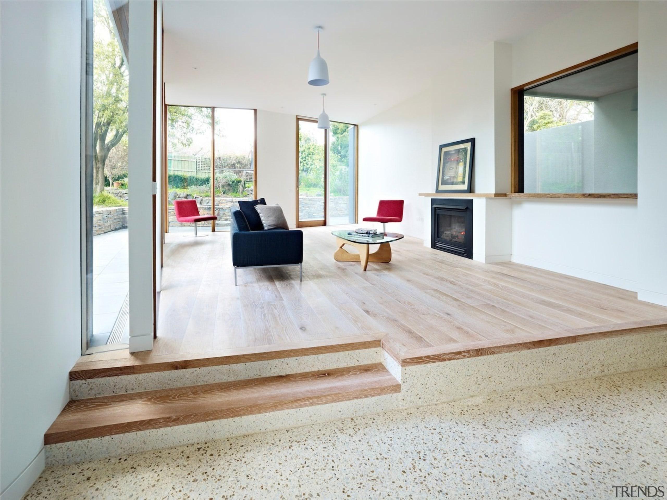 Architect: Steffen Welsch ArchitectsPhotography: Rhiannon Slatter floor, flooring, furniture, hardwood, house, interior design, laminate flooring, living room, property, real estate, table, wood, wood flooring, white, gray