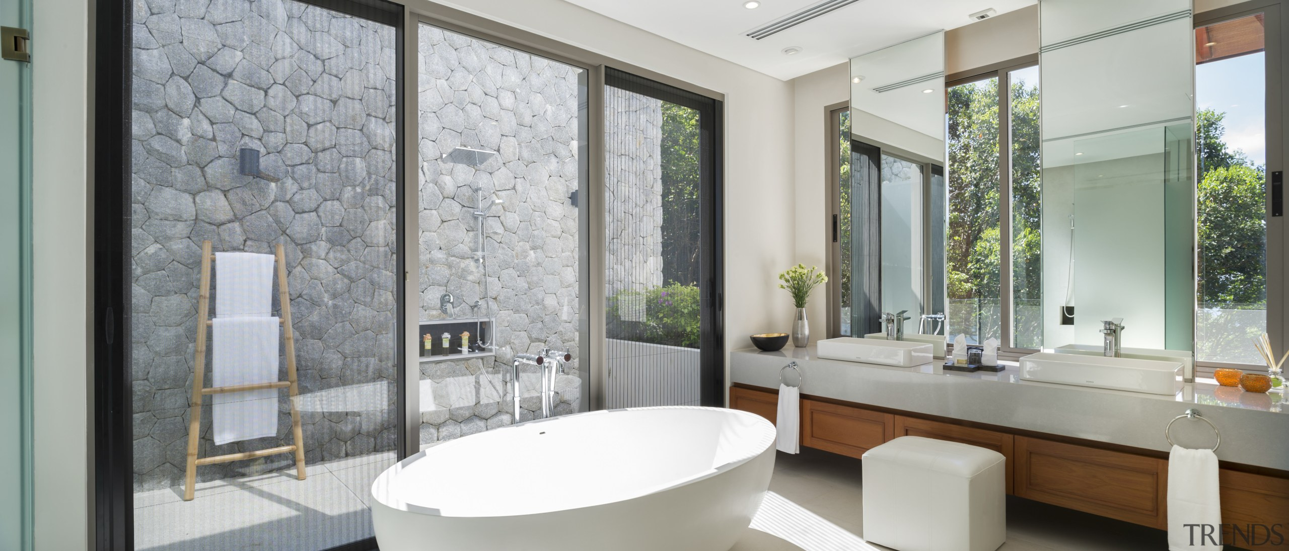 This master bathroom gives the option of showering bathroom, home, interior design, window, gray