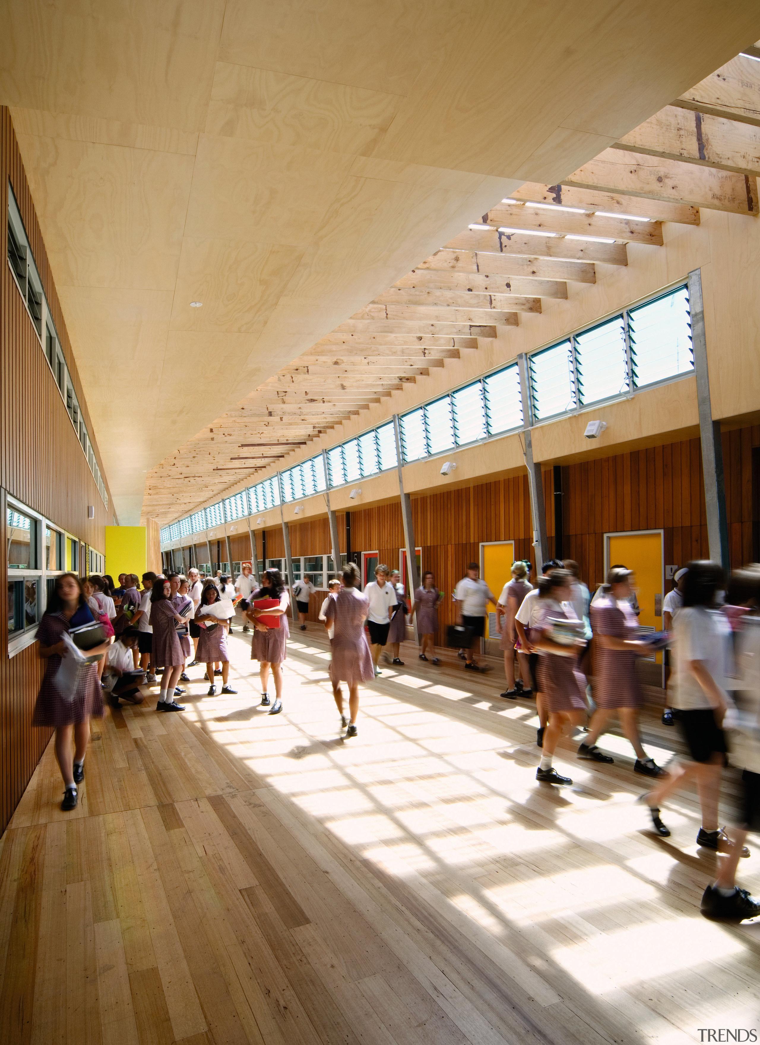 View of Williamstown High School in Melbourne. Designed wood, brown, orange