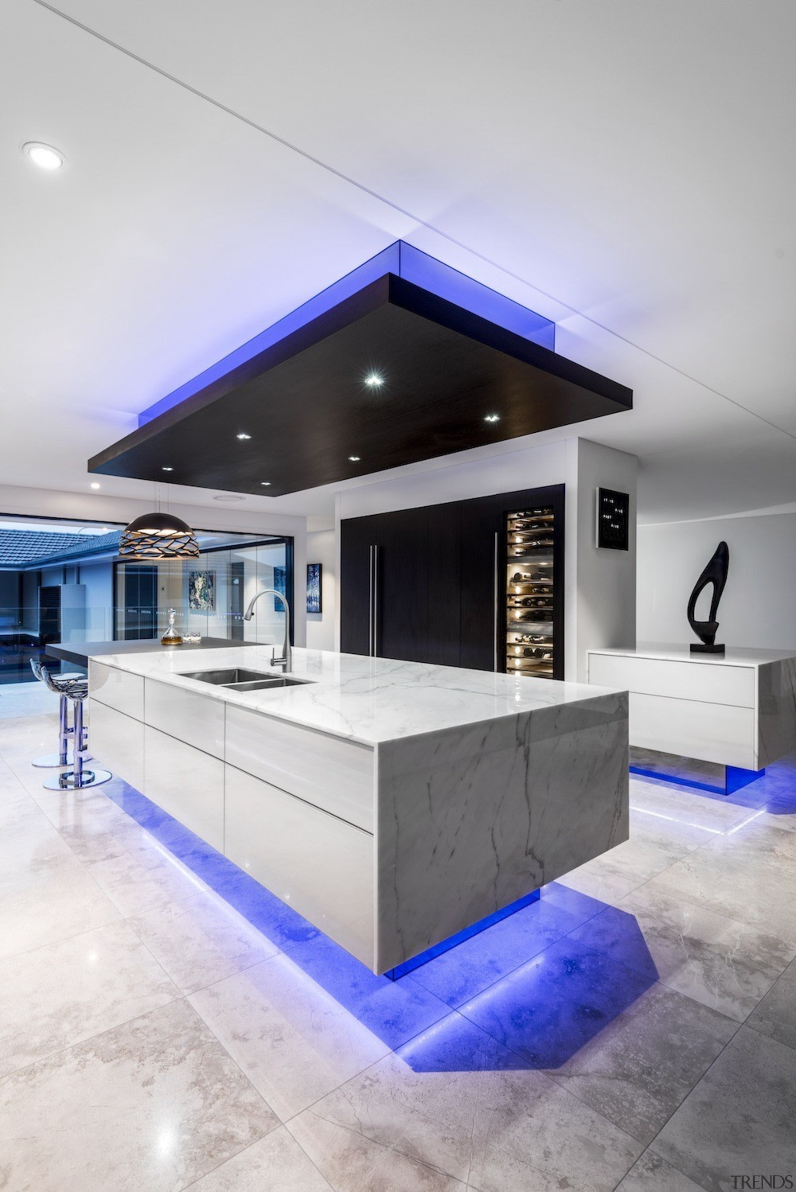 A focus on lighting – Kitchen by designer architecture, ceiling, countertop, interior design, kitchen, table, gray, white