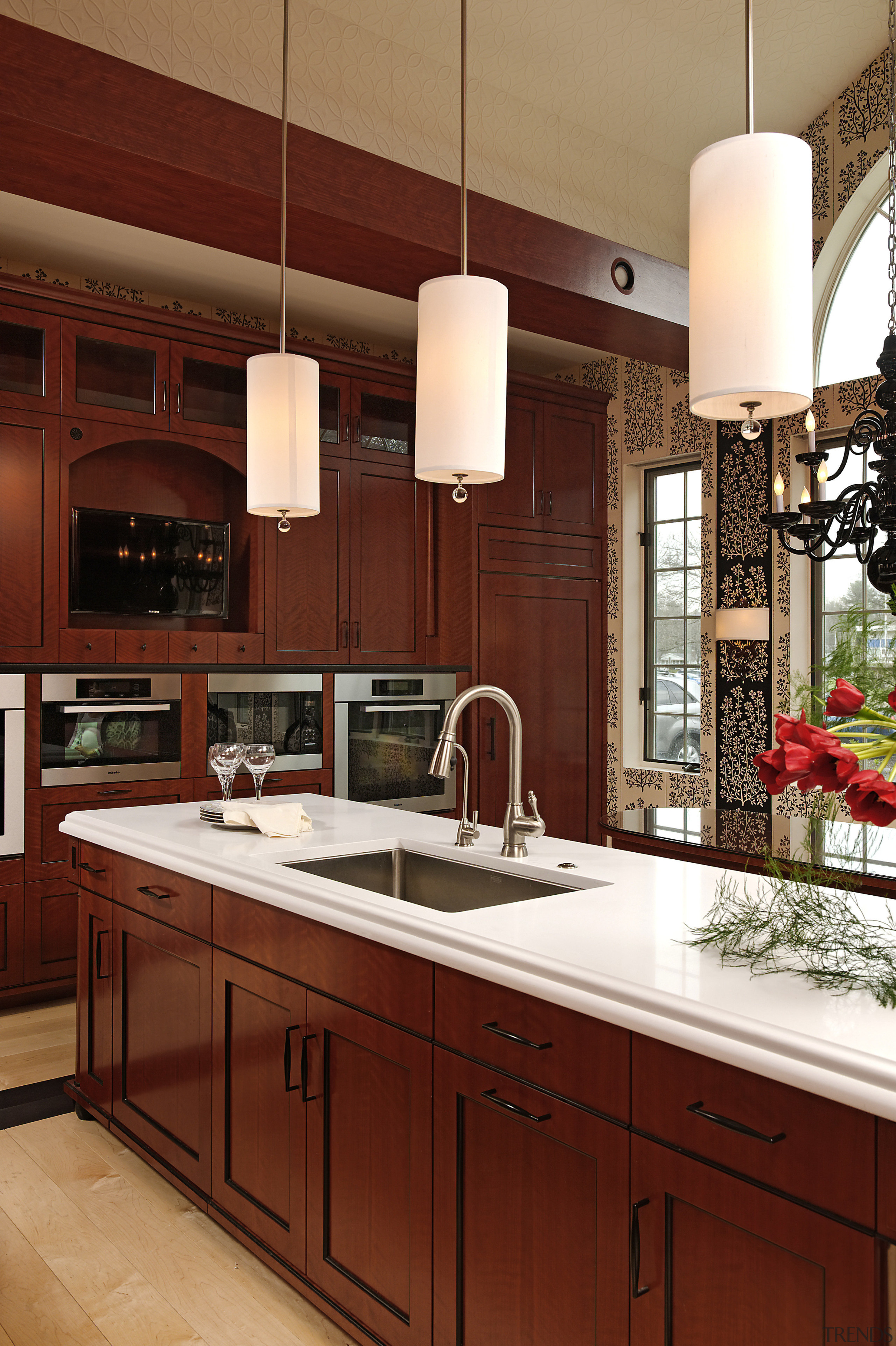 Pendants with fabric shades cast a soft light cabinetry, countertop, cuisine classique, interior design, kitchen, under cabinet lighting, red