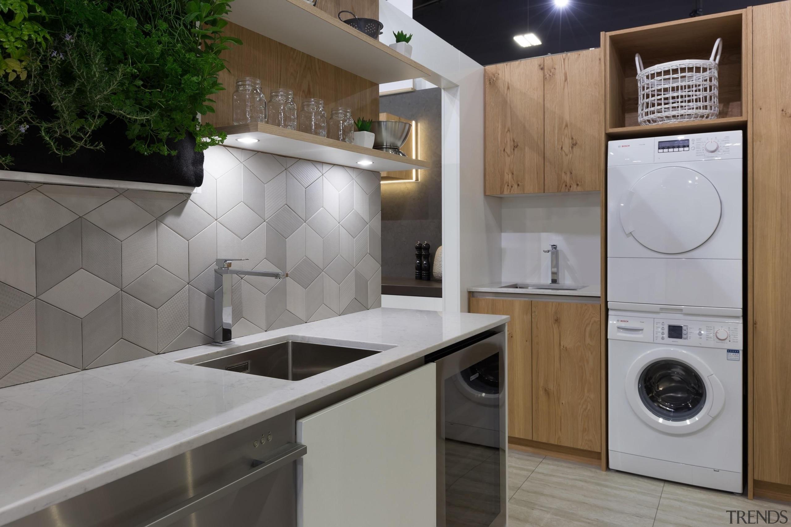 scullery, laundry, veneer, tiled splashback - Home show countertop, home appliance, kitchen, laundry, laundry room, major appliance, room, gray
