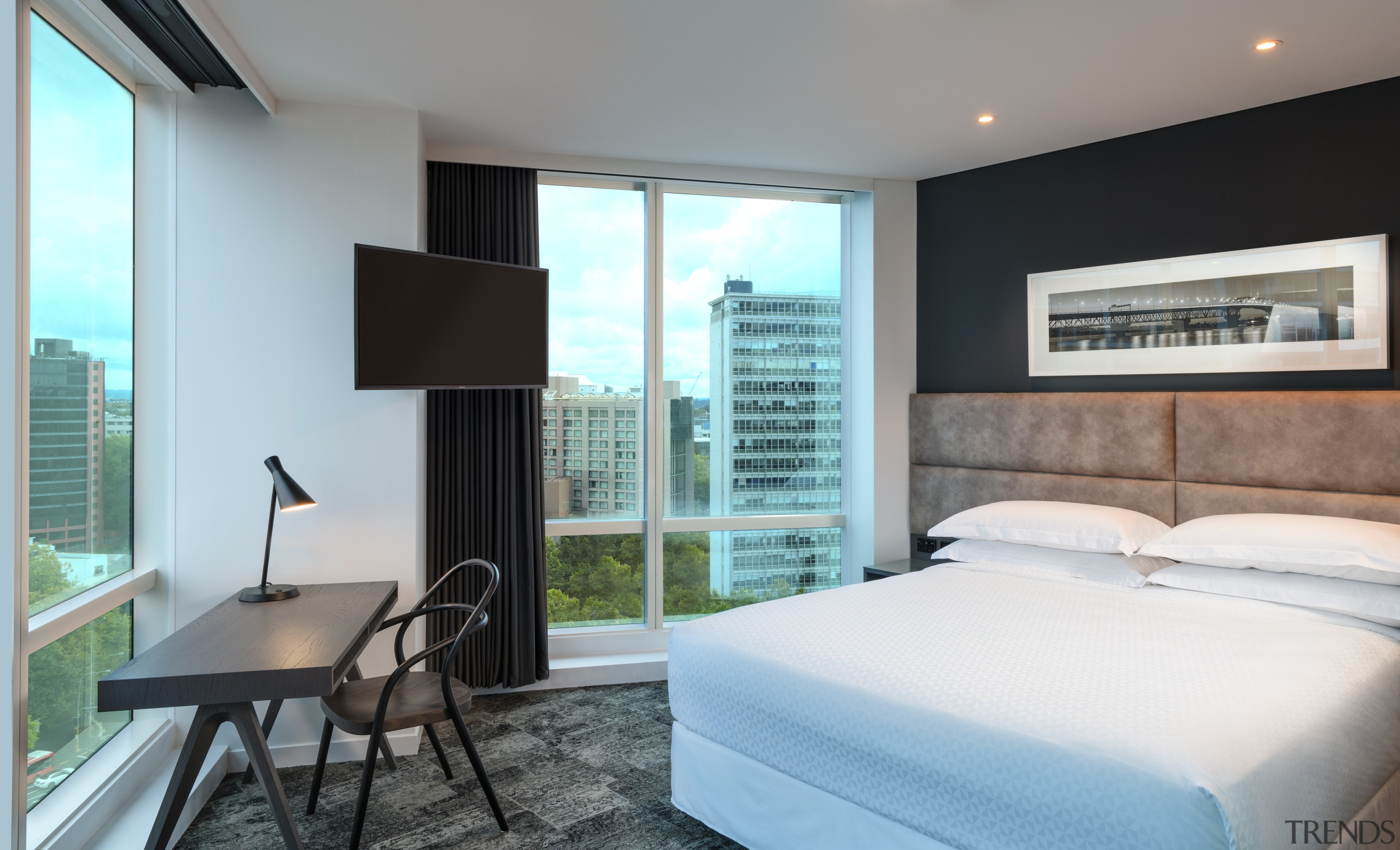 Floor-to-ceiling windows ensure spectacular views from Four Points Hotel, bed, room, boutique hotel, furniture, four points sheraton, Russell Property group