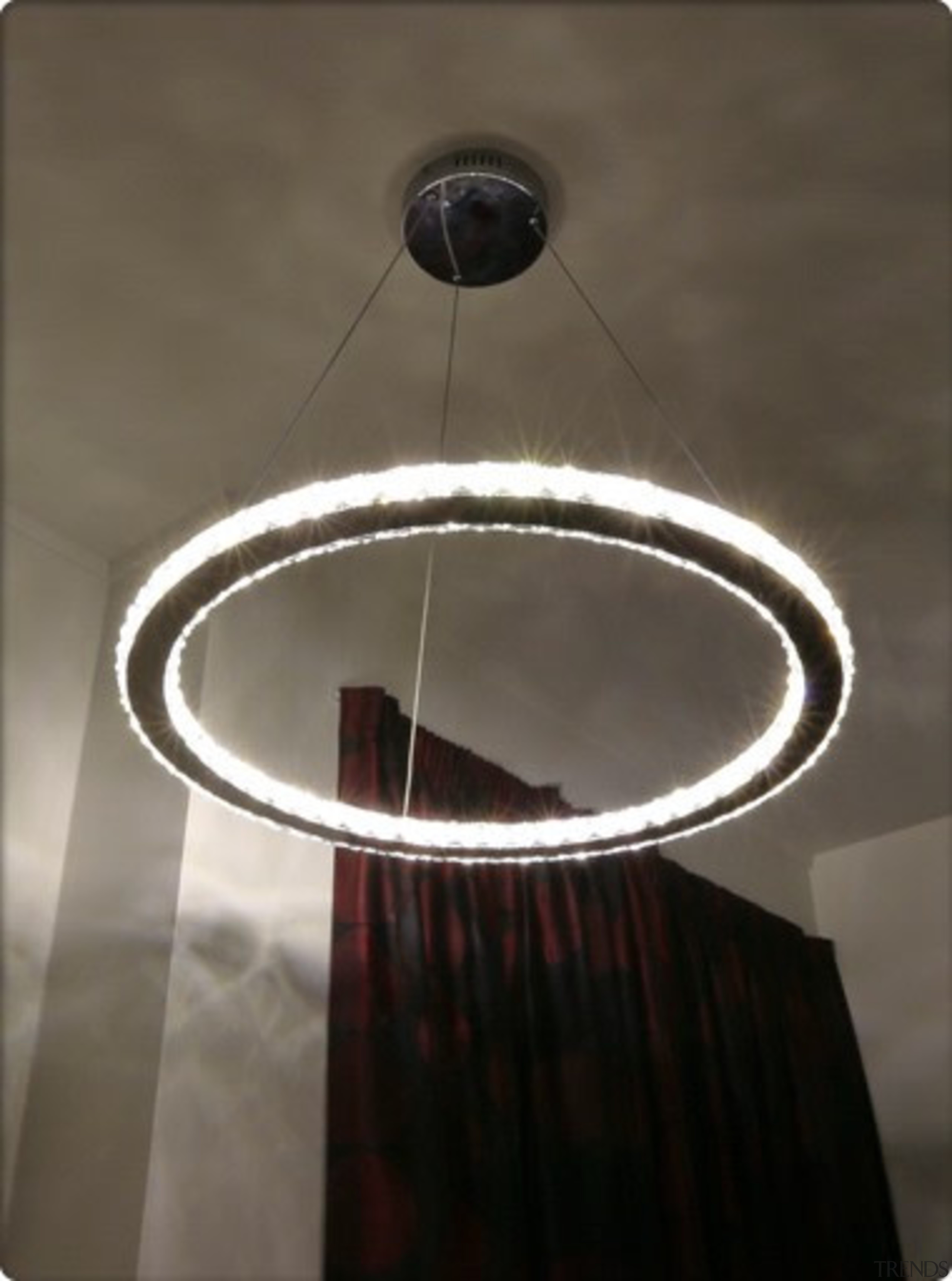 FeaturesThe Rad LED pendant is the very definition ceiling, ceiling fixture, chandelier, circle, lamp, light, light fixture, lighting, lighting accessory, product design, gray, black