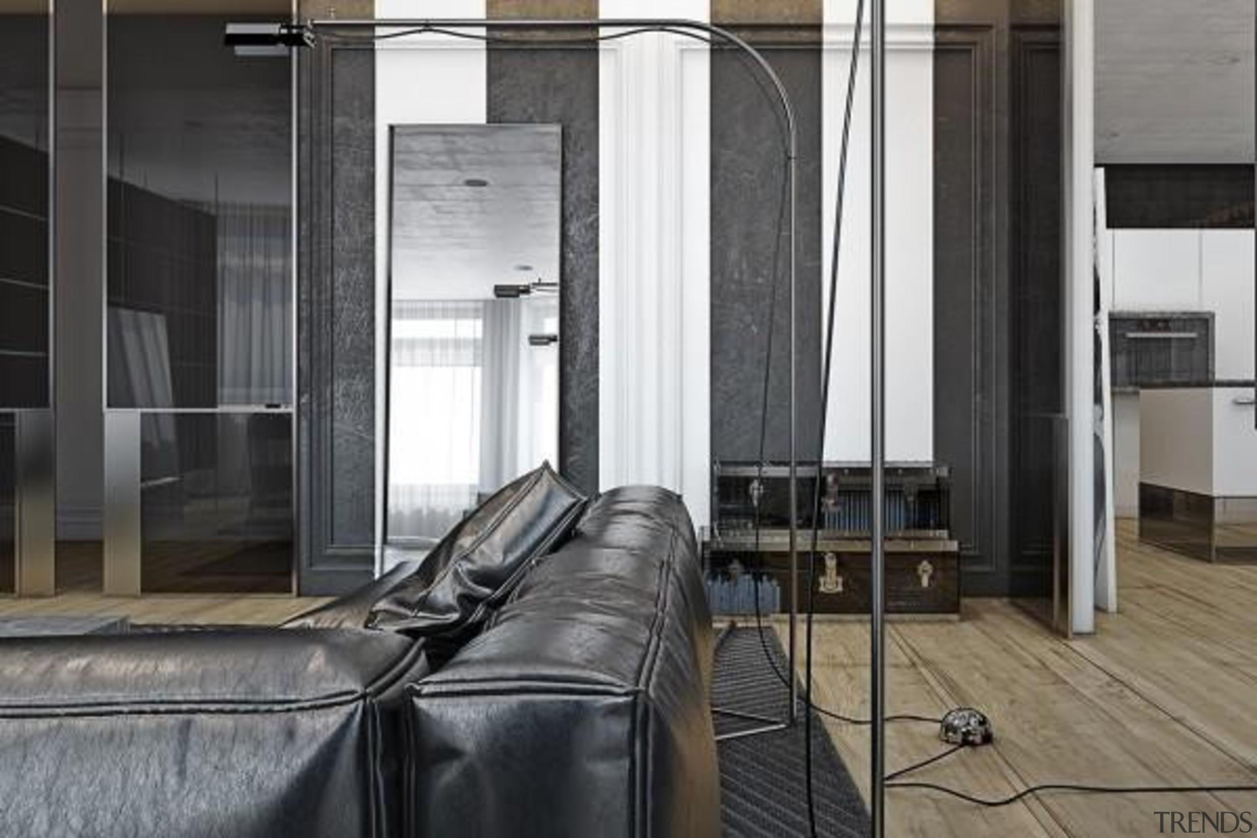 soft leather sofa - Masculine Apartments - architecture architecture, building, door, floor, flooring, furniture, glass, interior design, window, black, gray