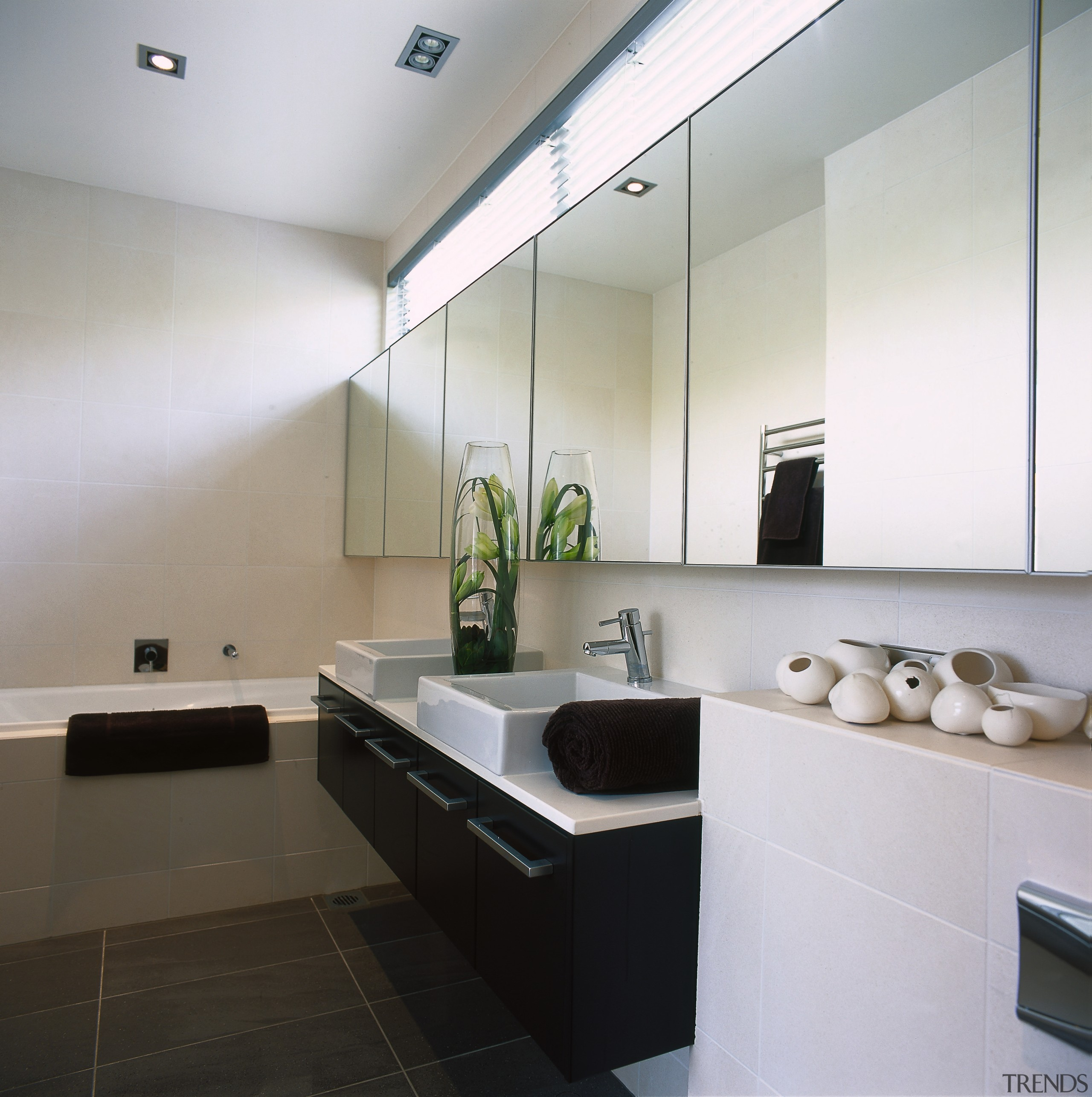 View of this bathroom - View of this architecture, bathroom, ceiling, countertop, floor, interior design, kitchen, product design, room, sink, gray