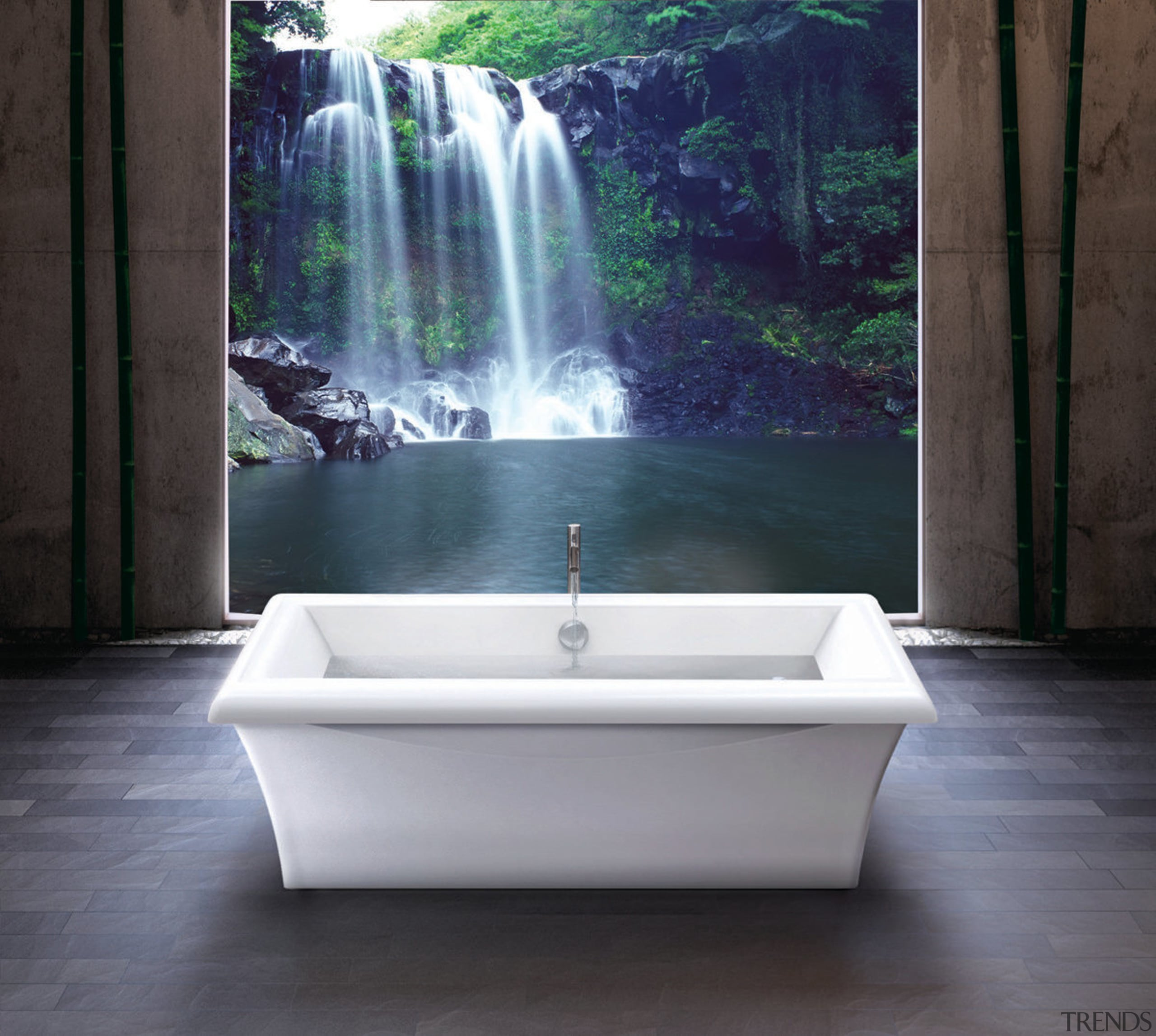 Resort-style bathing is all about the feel-good factor. bathtub, plumbing fixture, water, water feature, black, gray