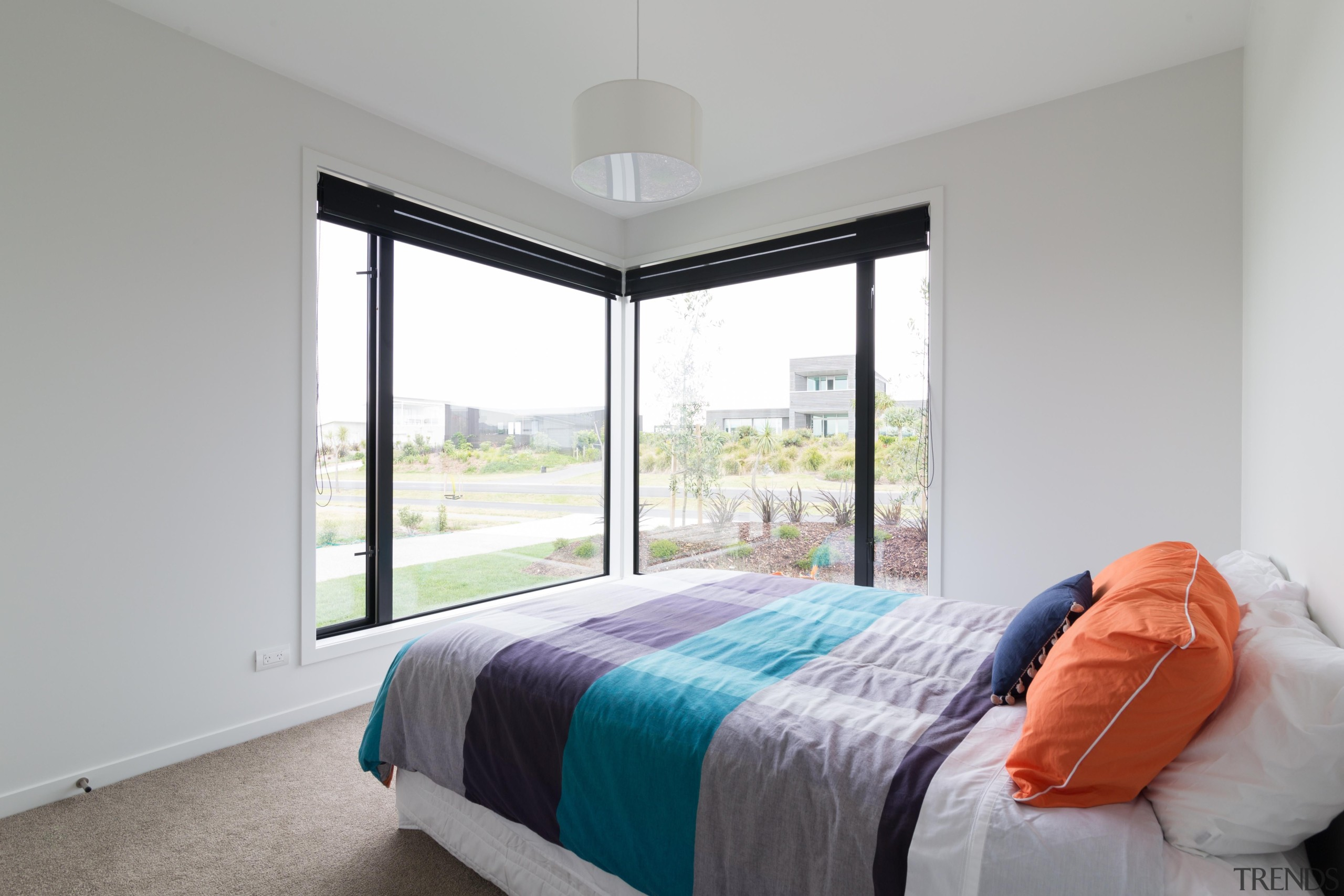 Open, light, bright and airy - this bedroom bed, bed frame, bedroom, estate, home, house, interior design, property, real estate, room, window, gray