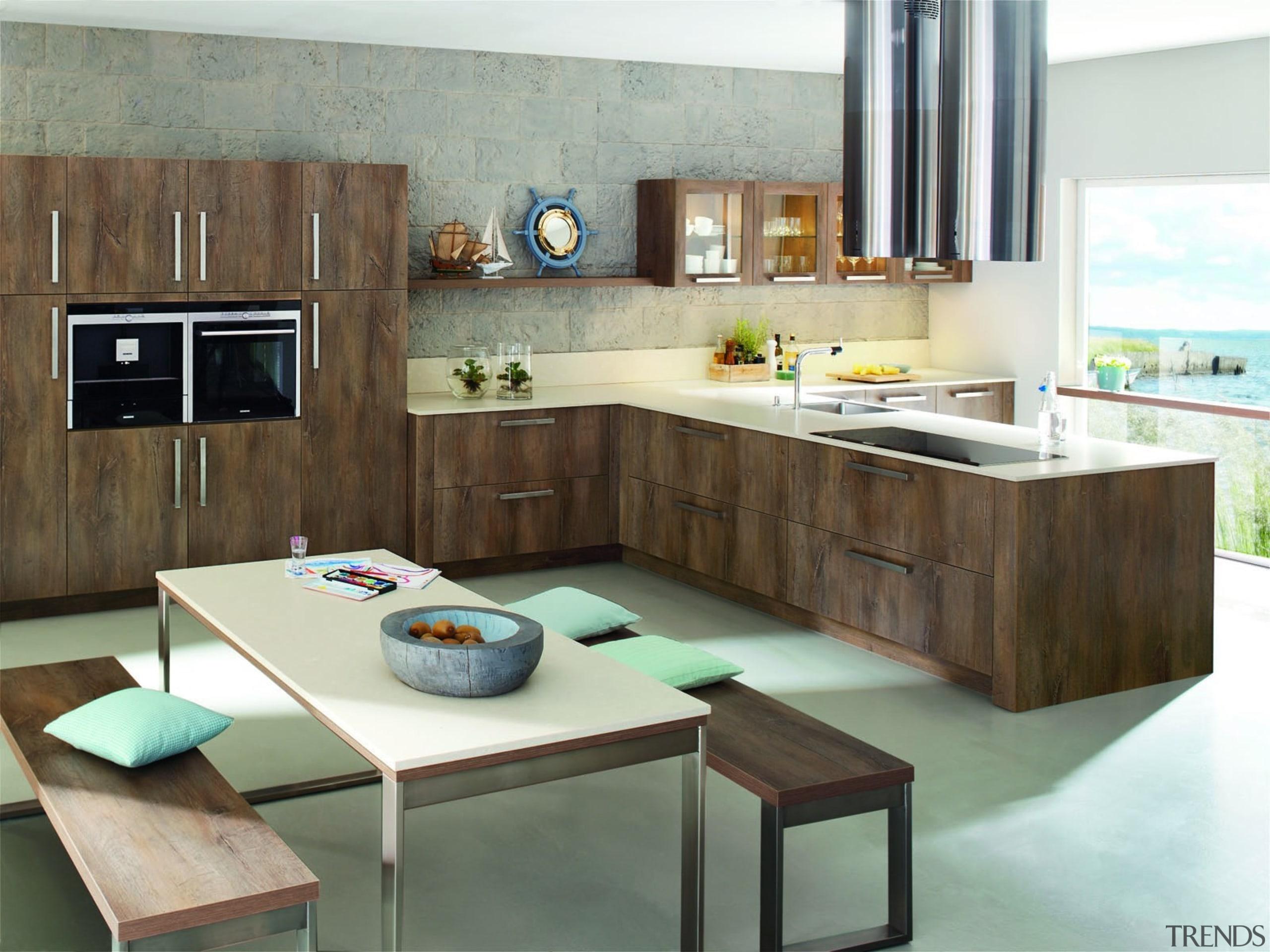 silestone quartz kitchen cocina serie rivers tigris sand countertop, cuisine classique, furniture, interior design, kitchen, product design, room, table, white, brown