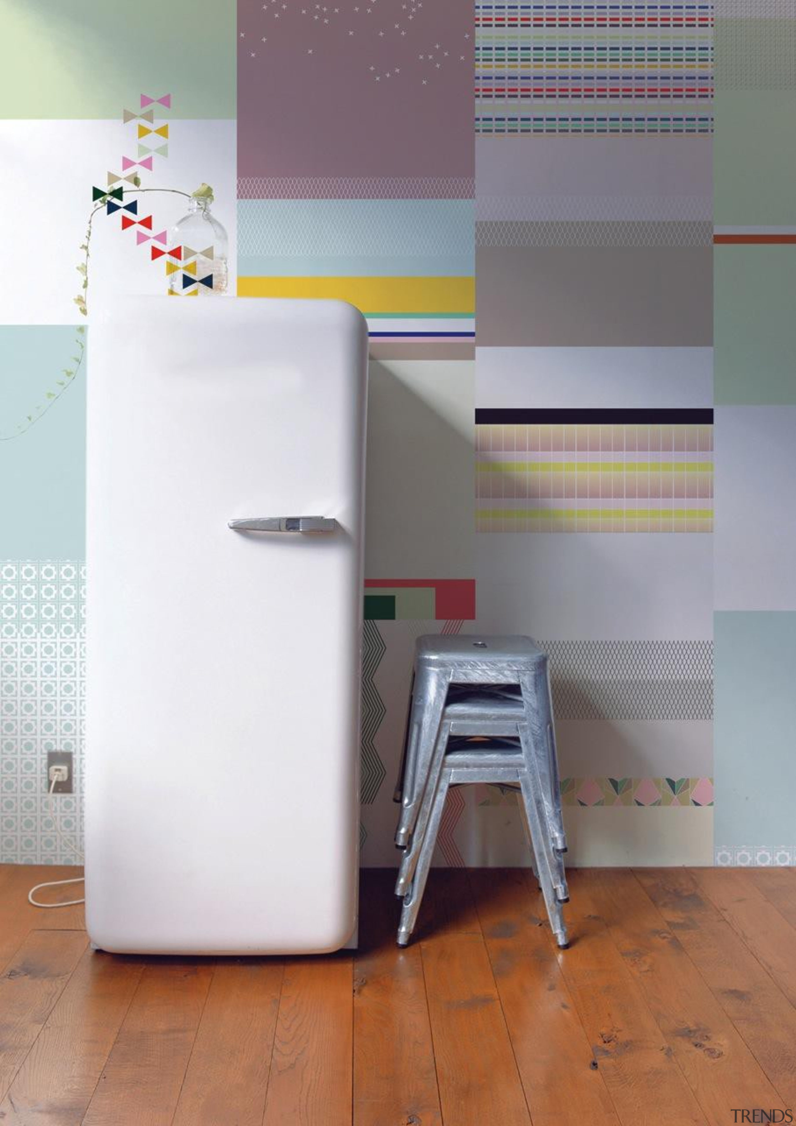 One of the challenges when putting up wallpaper floor, flooring, furniture, interior design, product, product design, shelf, shelving, table, tile, wall, gray, white