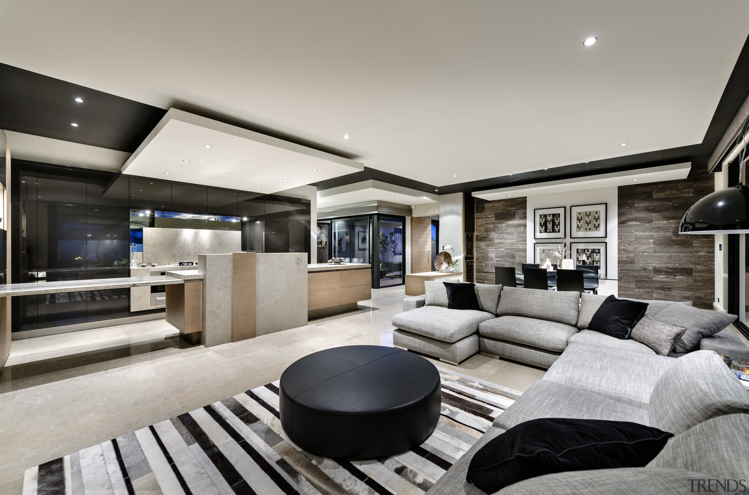 Living areas and kitchen are seamlessly integrated in home, interior design, living room, property, real estate, gray
