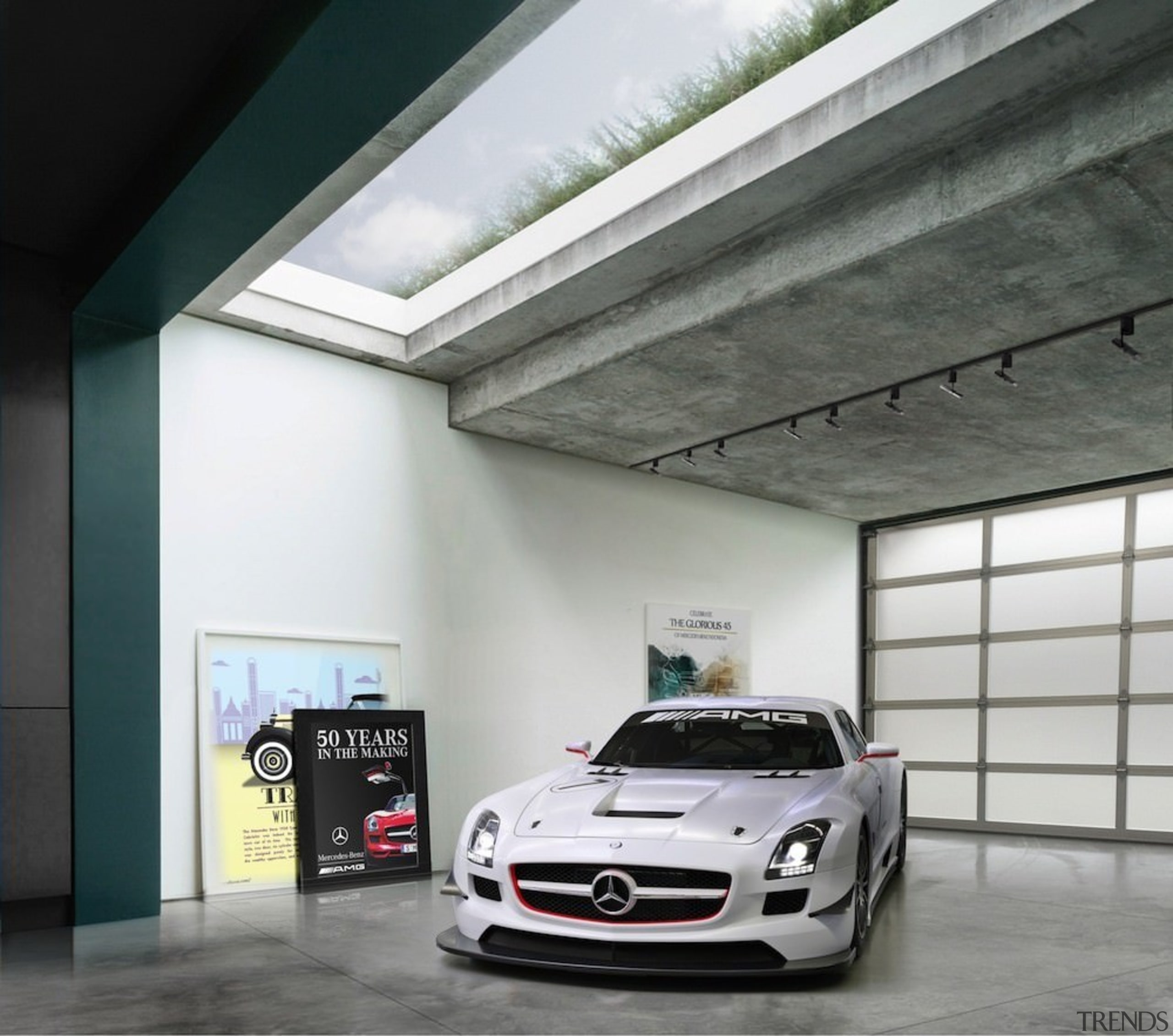 Glimpse the green roof through the skylight - automotive design, automotive exterior, building, car, garage, luxury vehicle, mercedes benz, mercedes benz sls amg, motor vehicle, performance car, personal luxury car, sports car, vehicle, gray, black