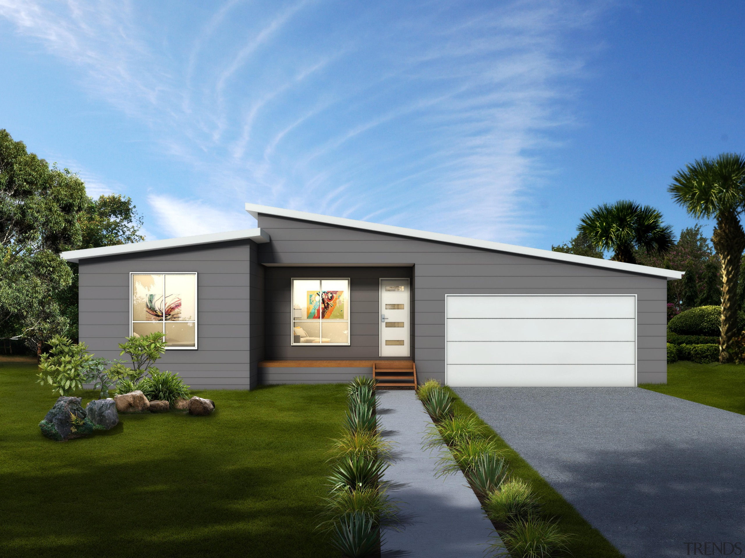 19.6 m x 12.0 mBedrooms: 4 + studyBathrooms: architecture, cottage, elevation, facade, home, house, landscape, luxury vehicle, property, real estate, residential area, shed, siding, sky, teal