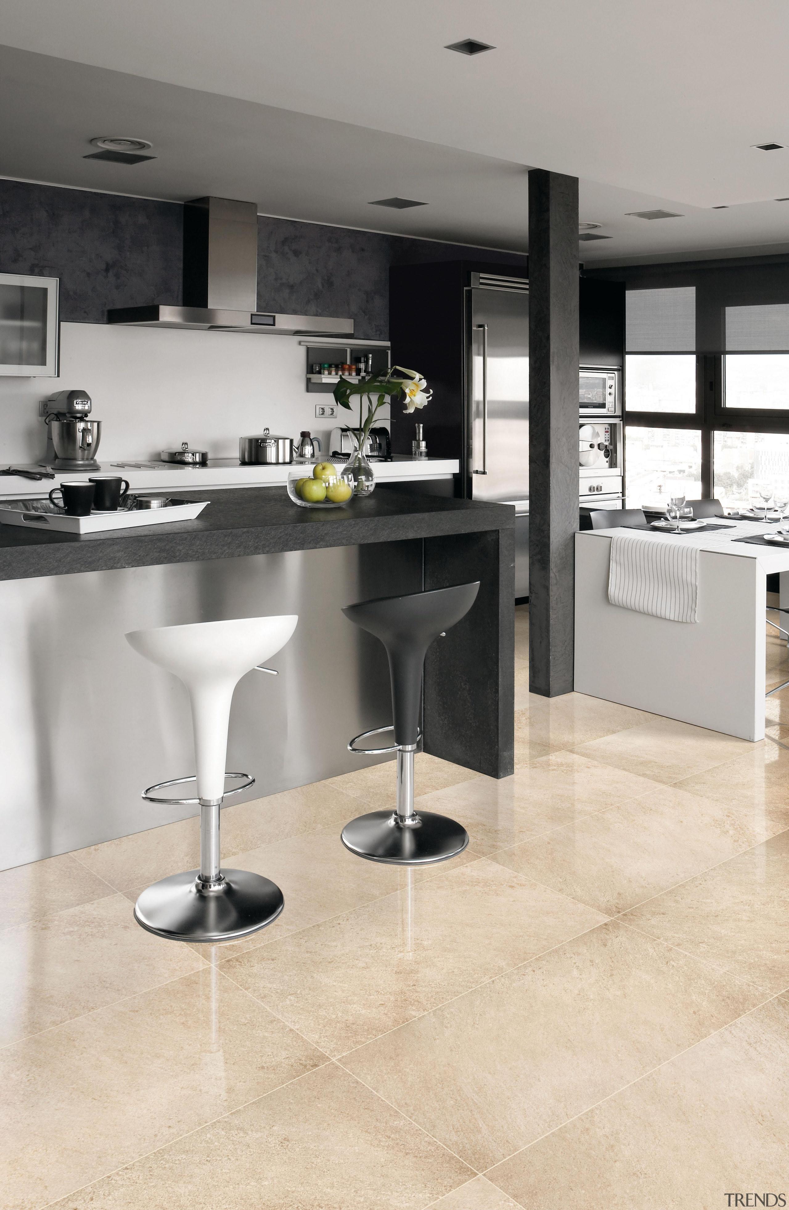 Beige kitchen floor. - Riviera Range - countertop countertop, floor, flooring, hardwood, interior design, kitchen, laminate flooring, product design, tile, wood flooring, gray