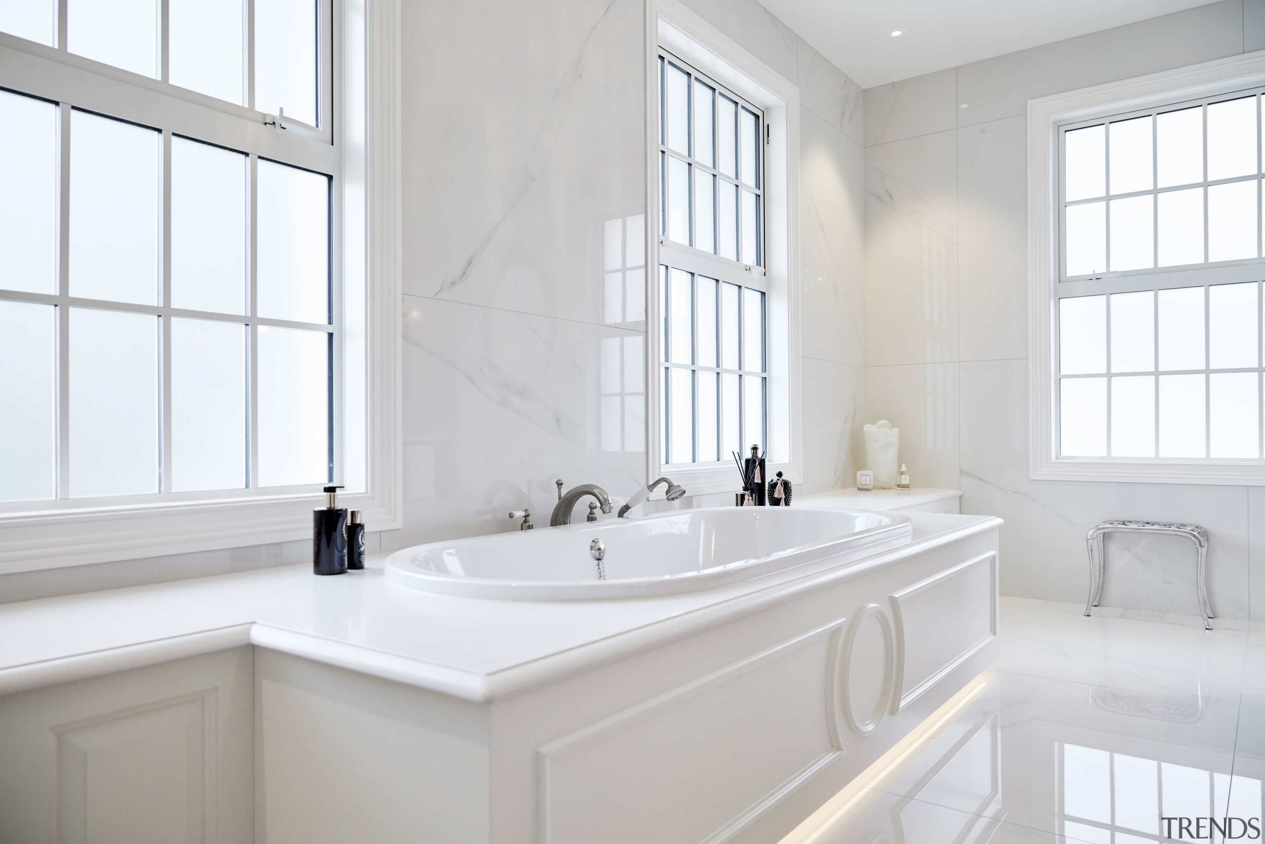 All the elements that make up this ensuite architecture, bathroom, bathroom accessory, bathtub, floor, flooring, furniture, plumbing fixture, sink, tap, tile, white, ingrid geldof design