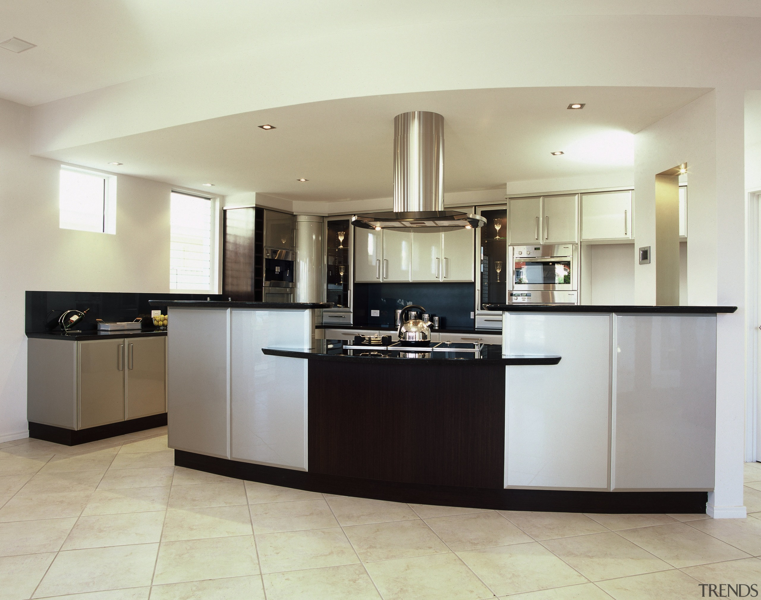 A view of a kitchen, cream tiled floor, cabinetry, countertop, cuisine classique, floor, flooring, interior design, kitchen, real estate, room, gray, white