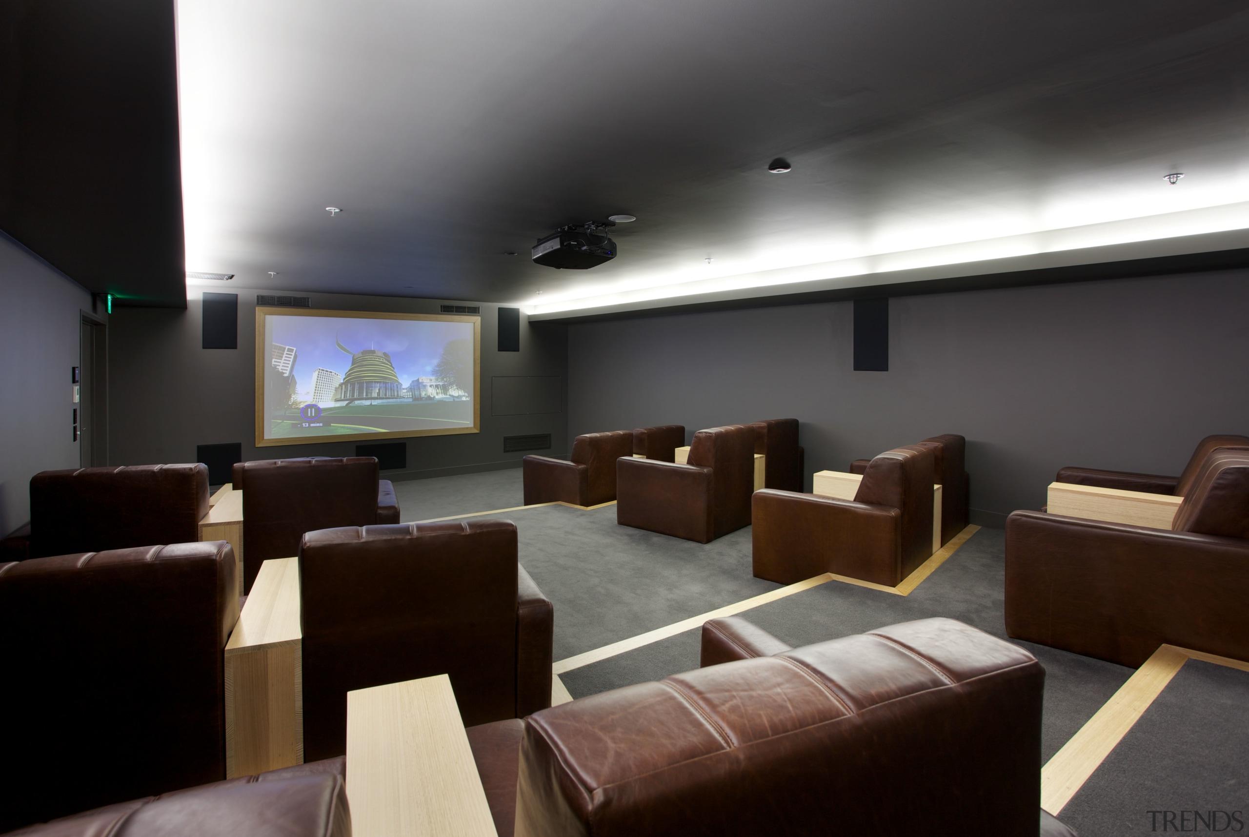 The Clyde Quay Wharf apartment development includes a auditorium, ceiling, conference hall, interior design, black