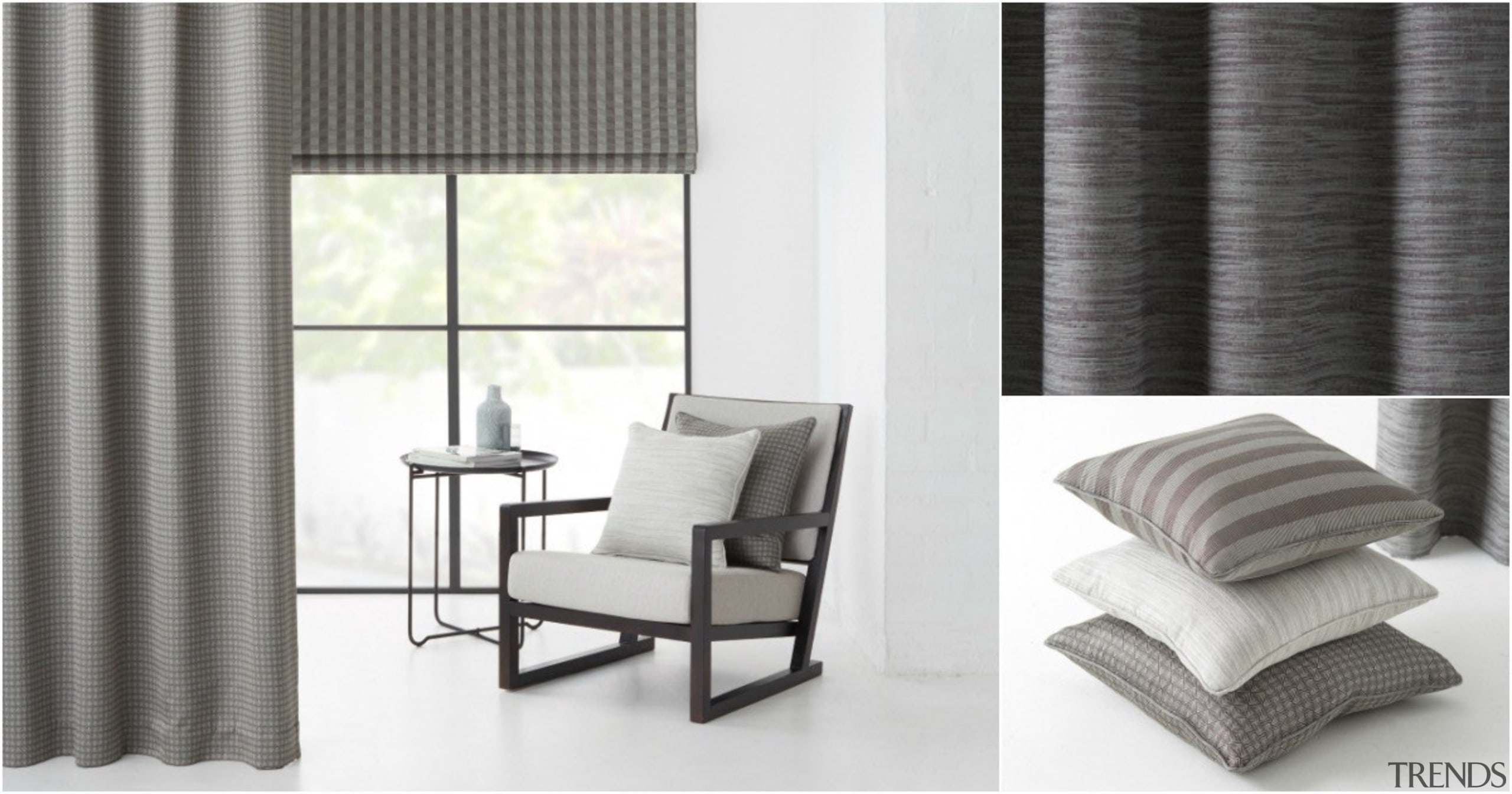 Line, tone and texture harmonise in SUMMIT, a chair, curtain, decor, floor, furniture, home, interior design, product, shade, table, textile, window, window blind, window covering, window treatment, white, gray