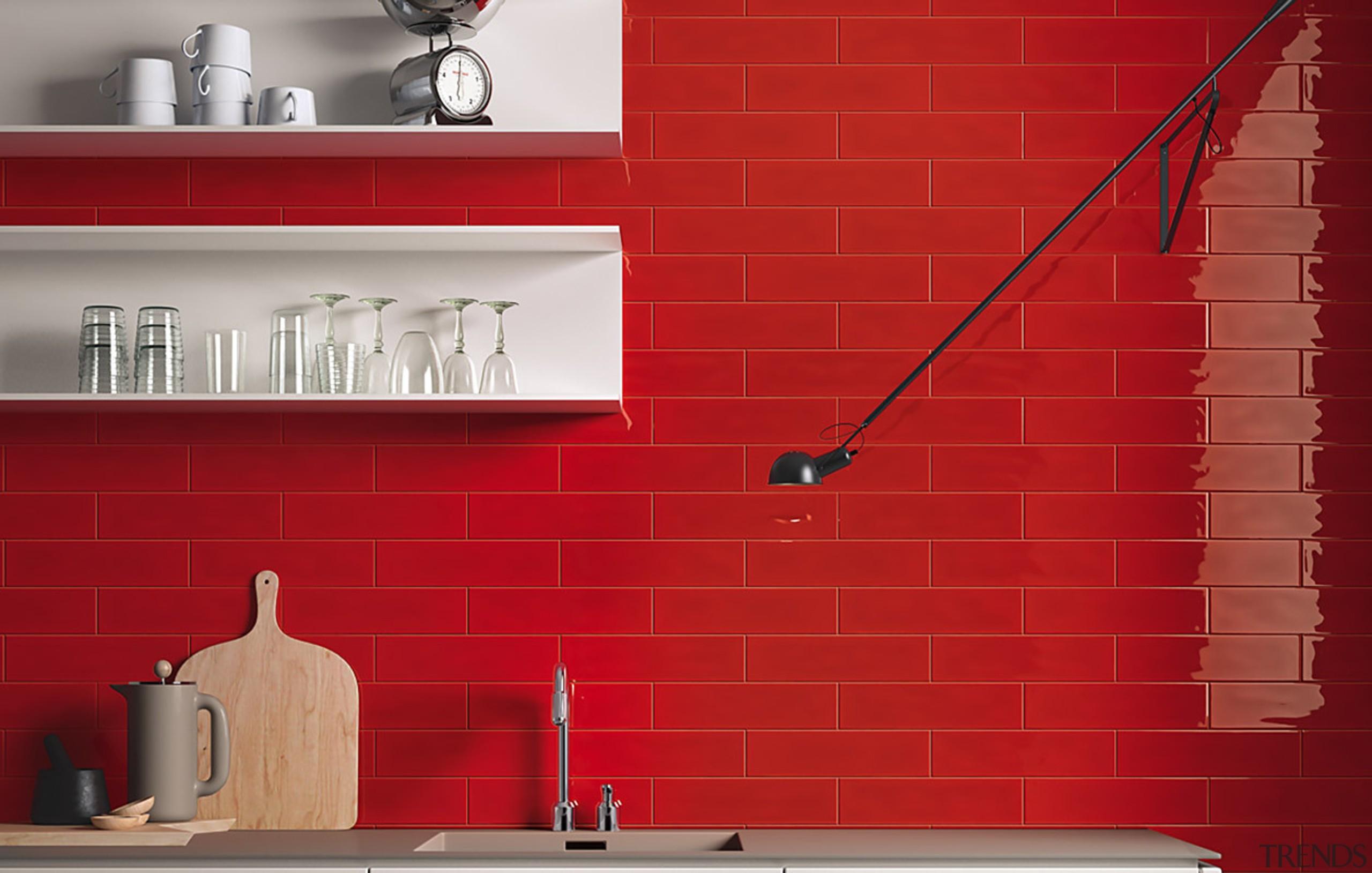 MC Tiles- Slash 05 - angle | floor angle, floor, flooring, interior design, red, shelf, tile, wall, red
