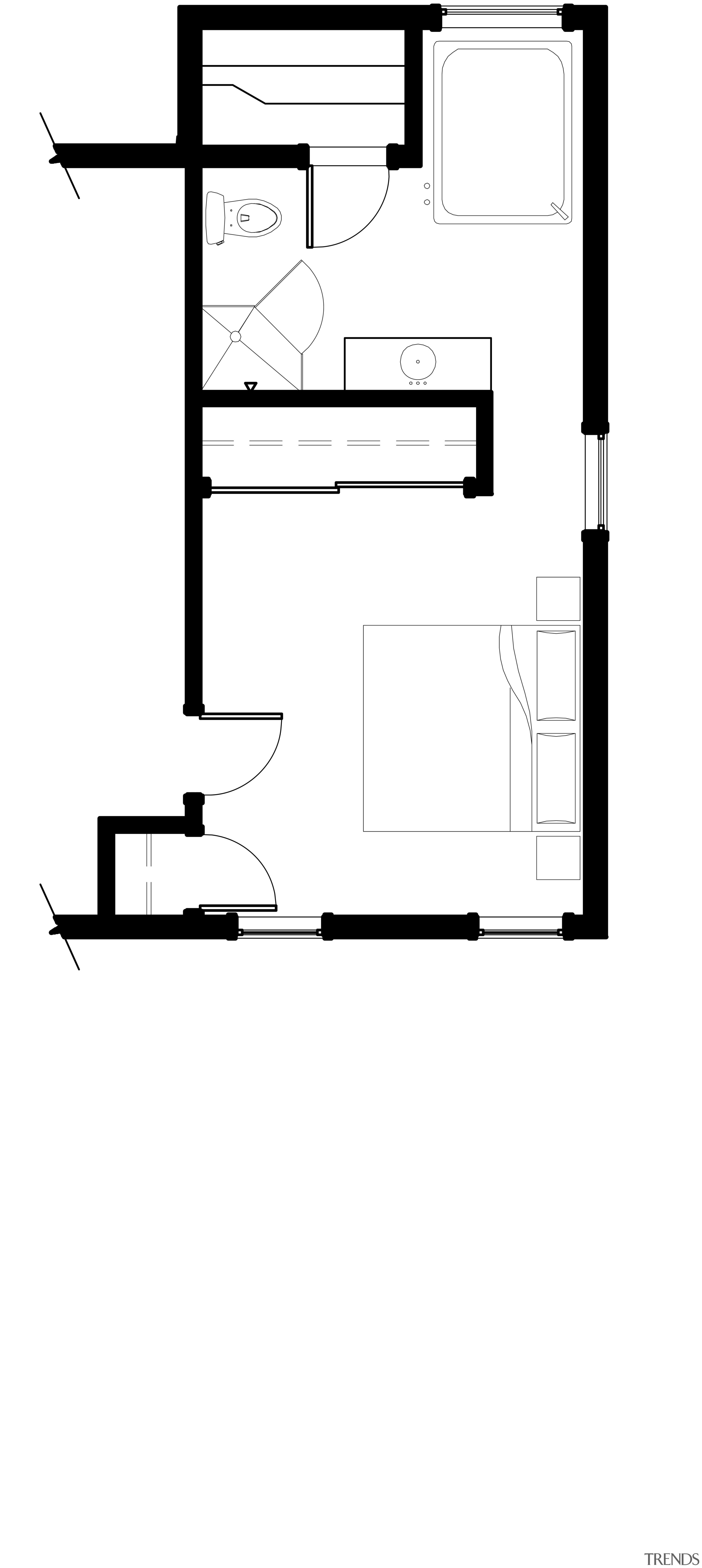 This home and kitchen was designed by Finne angle, area, black, black and white, design, diagram, drawing, floor plan, font, furniture, line, line art, product, product design, rectangle, square, structure, text, white, white