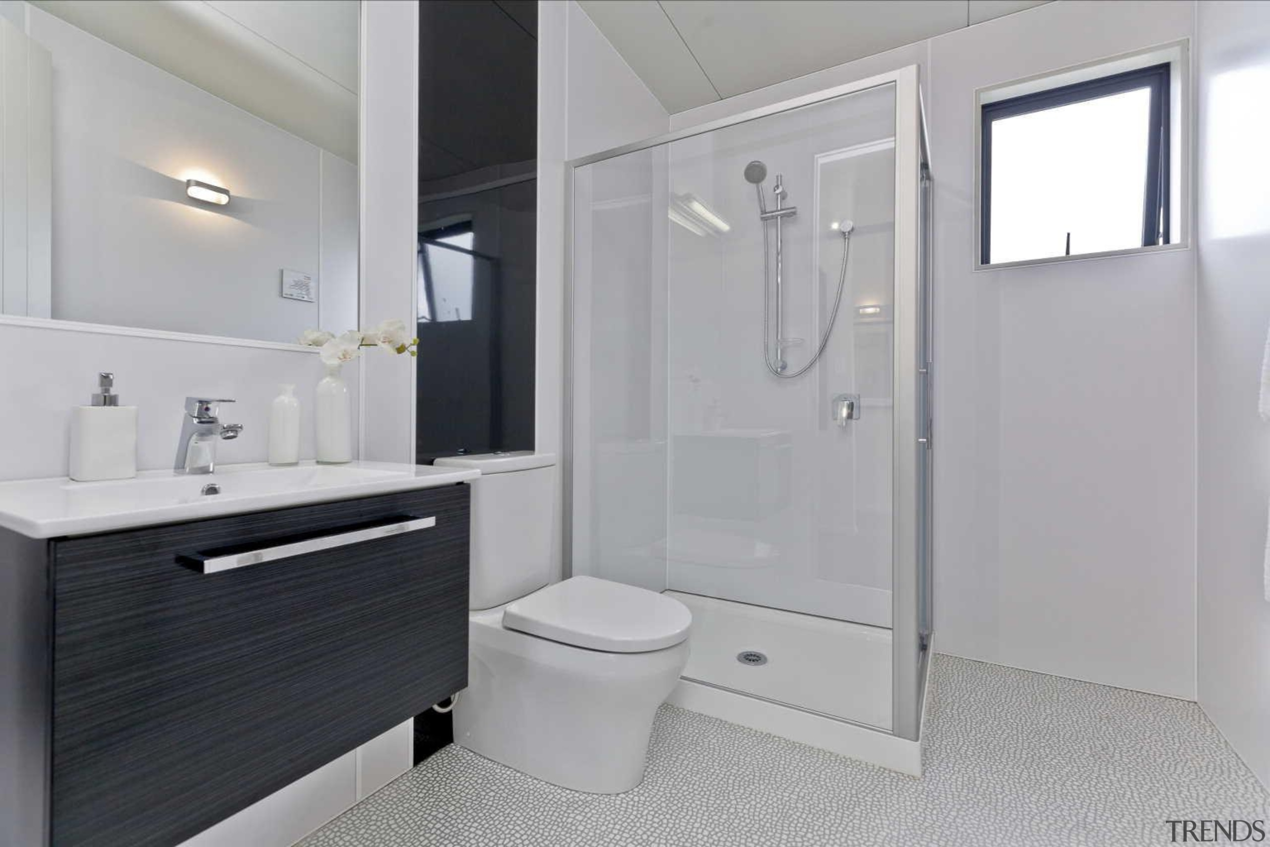 White bathroom with black accent - White Bathroom bathroom, bathroom accessory, bathroom cabinet, property, real estate, room, gray