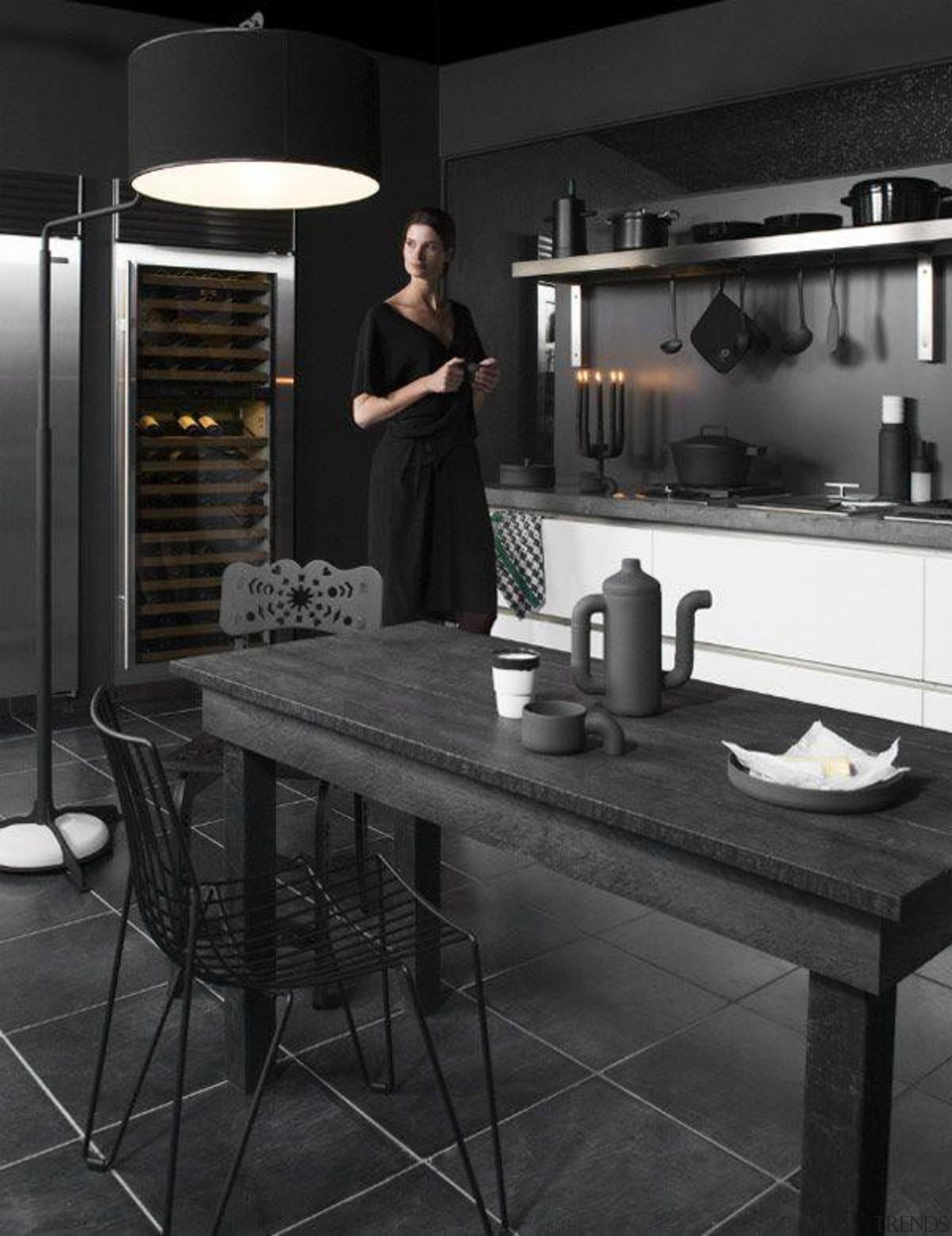 Black Kitchen and Dining Room - (Matte ) black, black and white, countertop, floor, flooring, furniture, interior design, kitchen, room, table, black