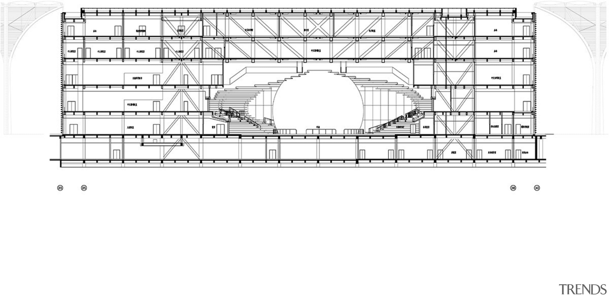 A cross-section of the Tianjin Binhai Library shows area, black and white, design, diagram, drawing, font, line, plan, technical drawing, text, white