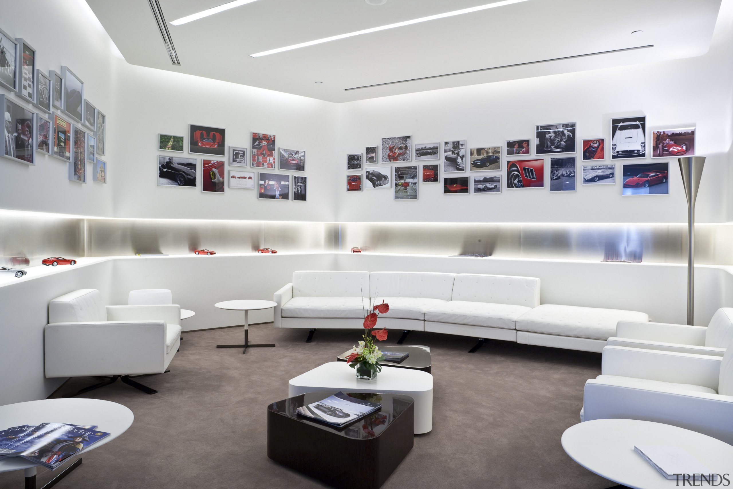 Ferrari Showroom in Australia - Ferrari Showroom in furniture, interior design, living room, product design, white, gray