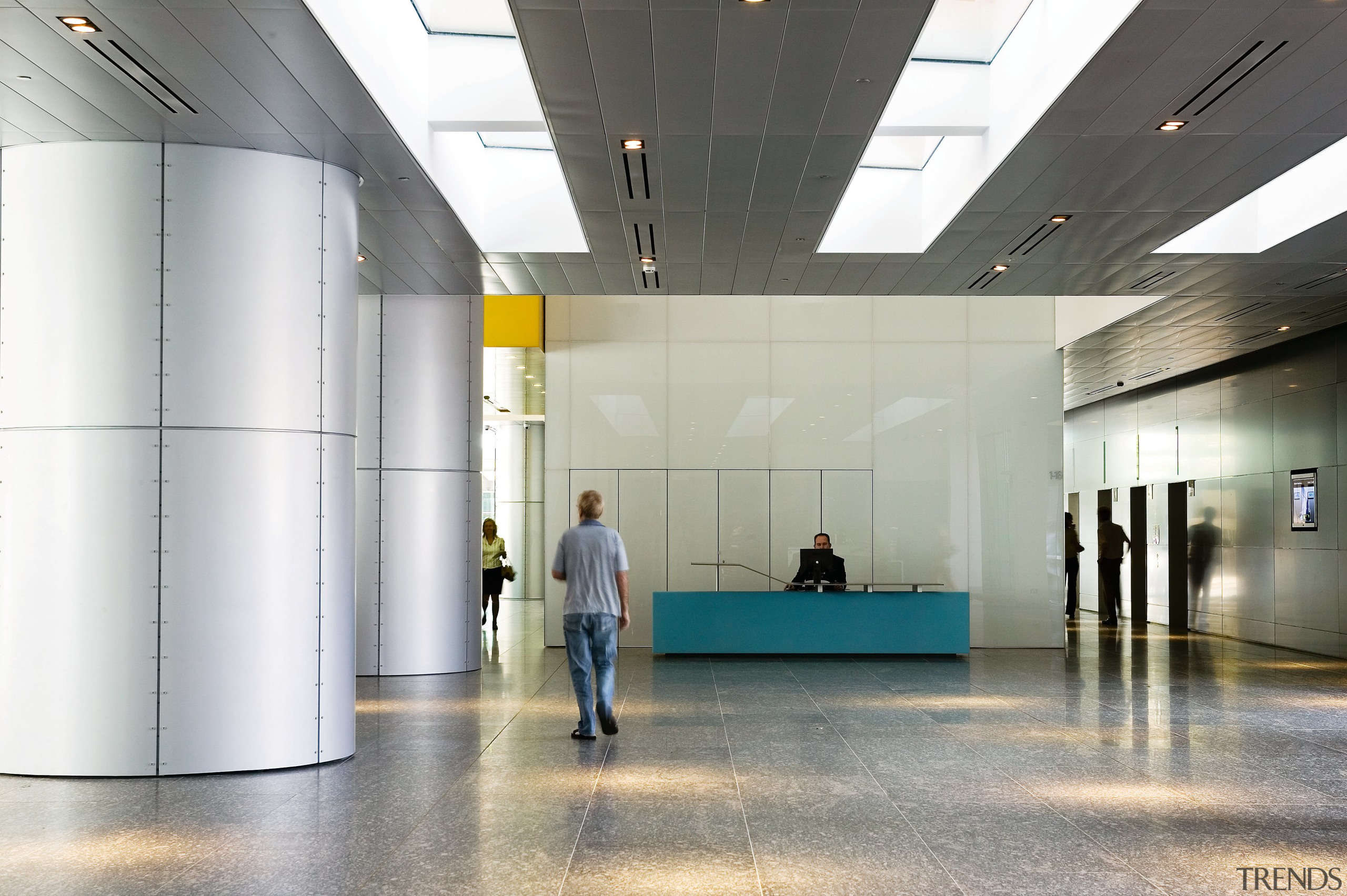View of the foyer of the brisbane square architecture, product design, tourist attraction, gray, white
