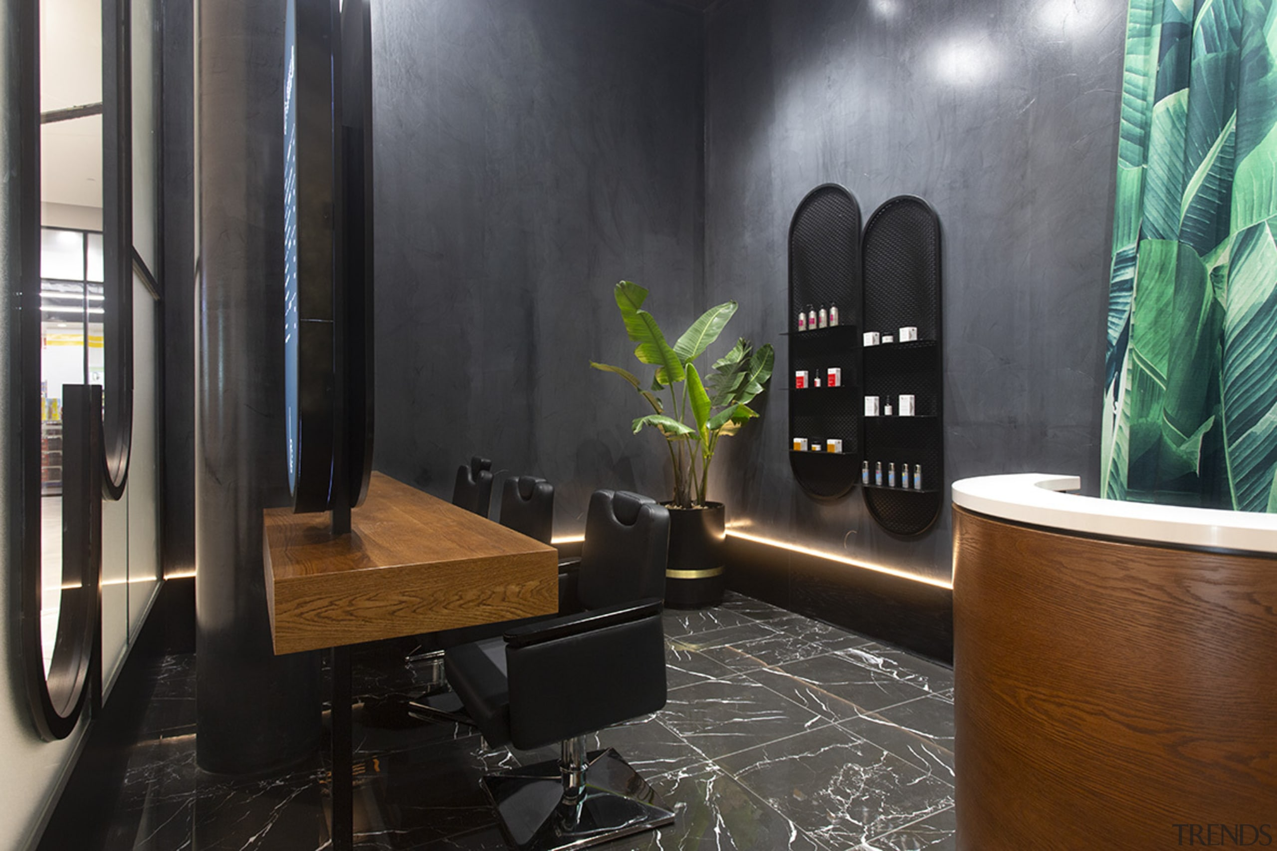 The black-out experience – entering into a black architecture, building, floor, flooring, furniture, hardwood, houseplant, interior design, lobby, plant, property, room, tile, black