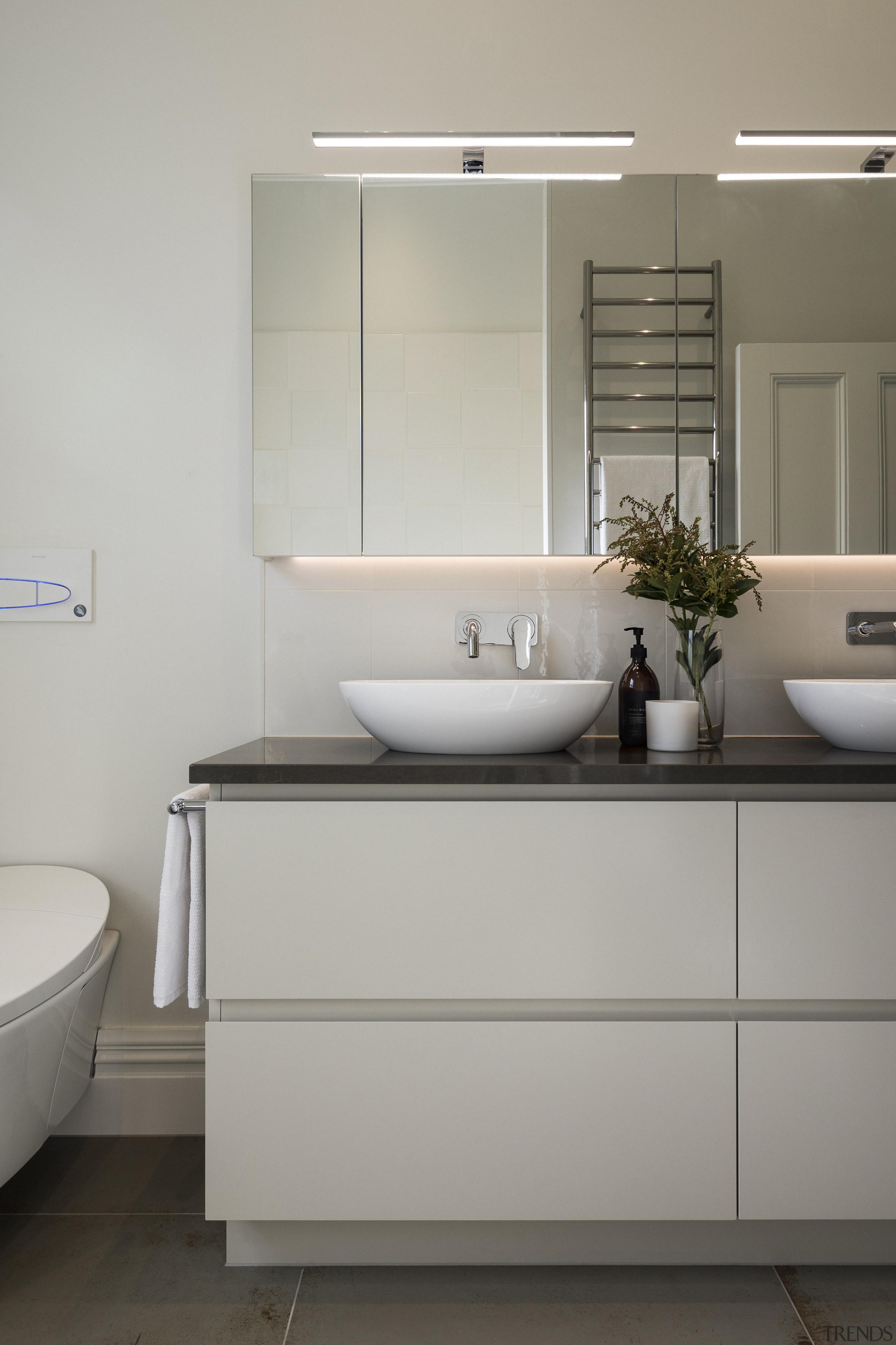 Recessed handles and benchtop vessels that echo the bathroom, bathroom accessory, bathroom cabinet, bathroom sink, interior design, plumbing fixture, product design, room, sink, tap, gray