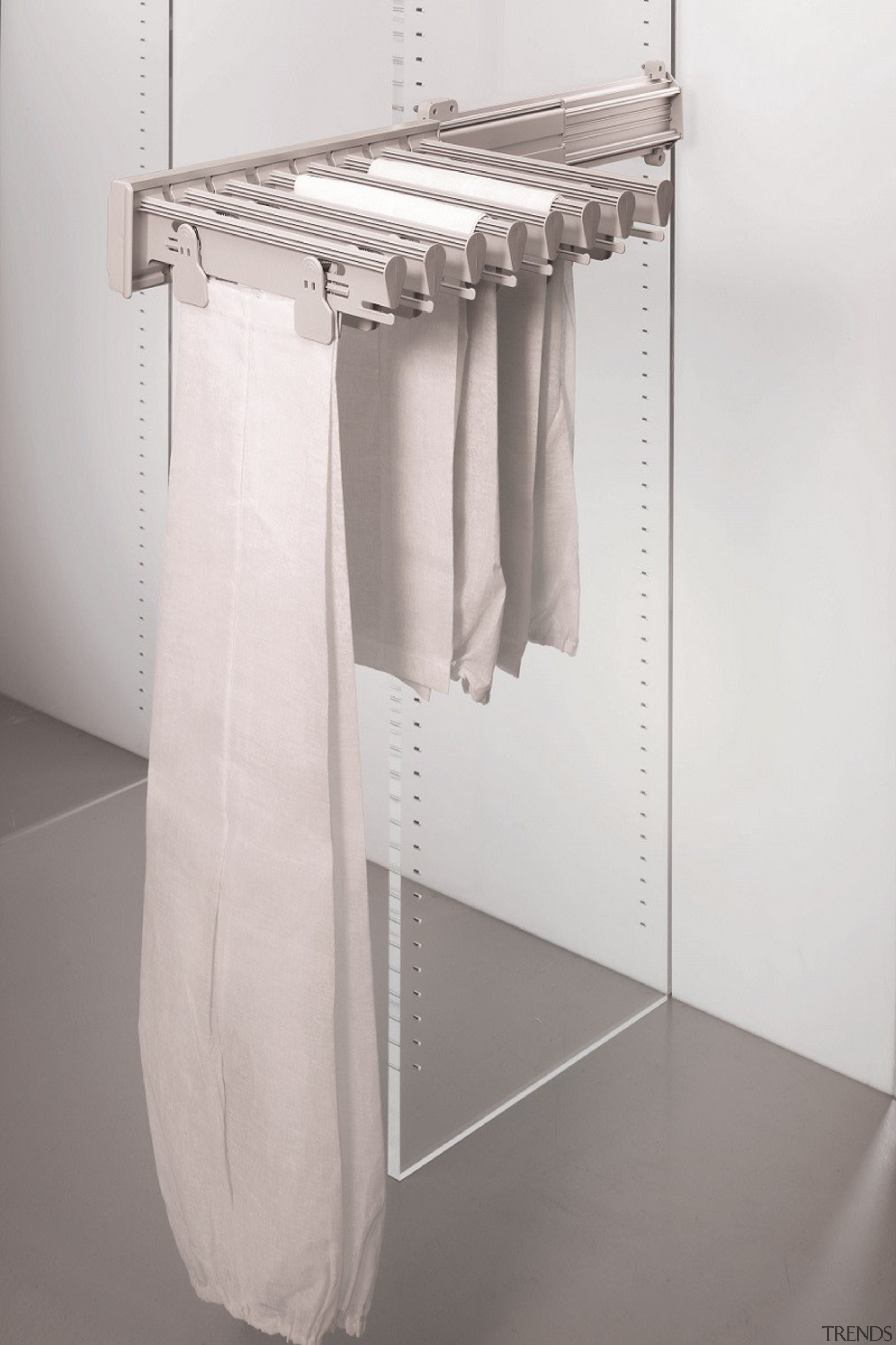 Ambos Side Mounted Wardrobe Fittings are ideal for angle, clothes hanger, furniture, plumbing fixture, product, product design, white, gray