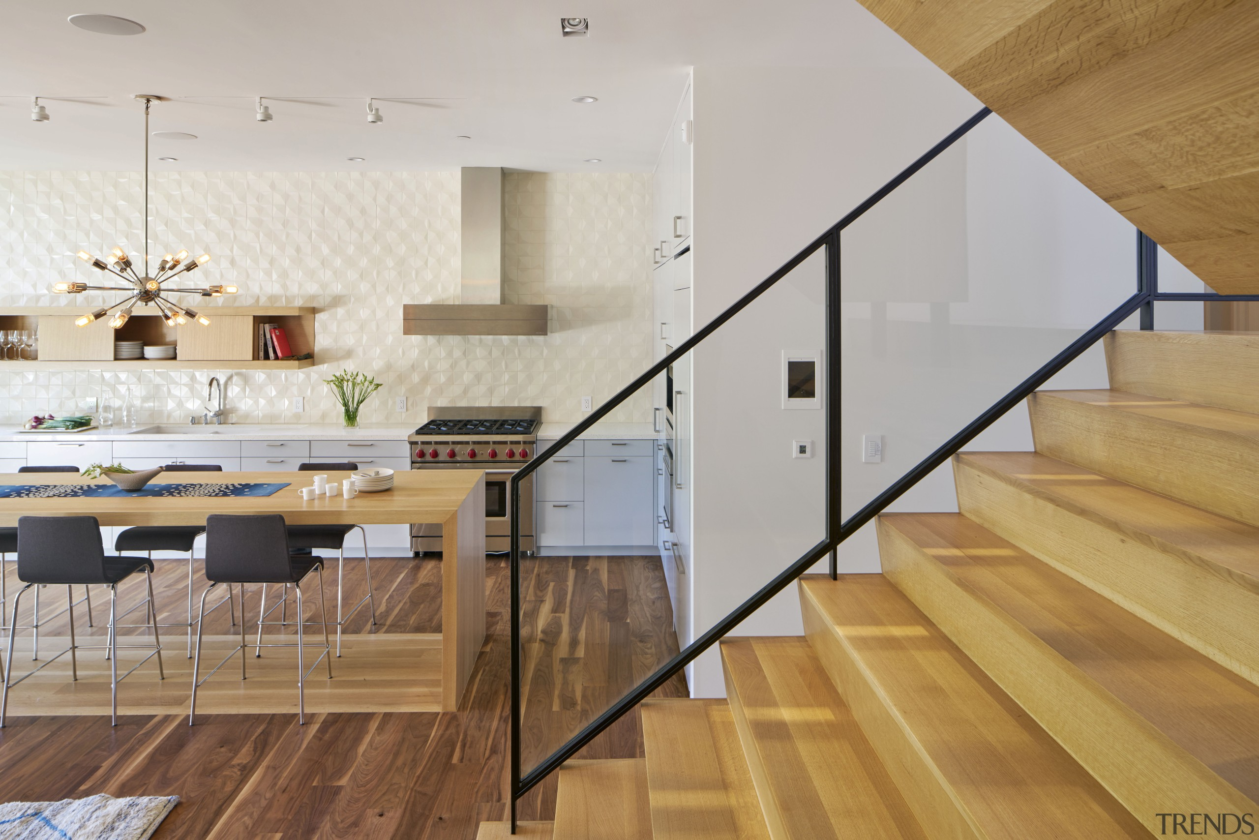 Installing shelving rather than upper cabinets results in architecture, ceiling, floor, flooring, handrail, hardwood, house, interior design, laminate flooring, loft, stairs, wall, wood, wood flooring, gray