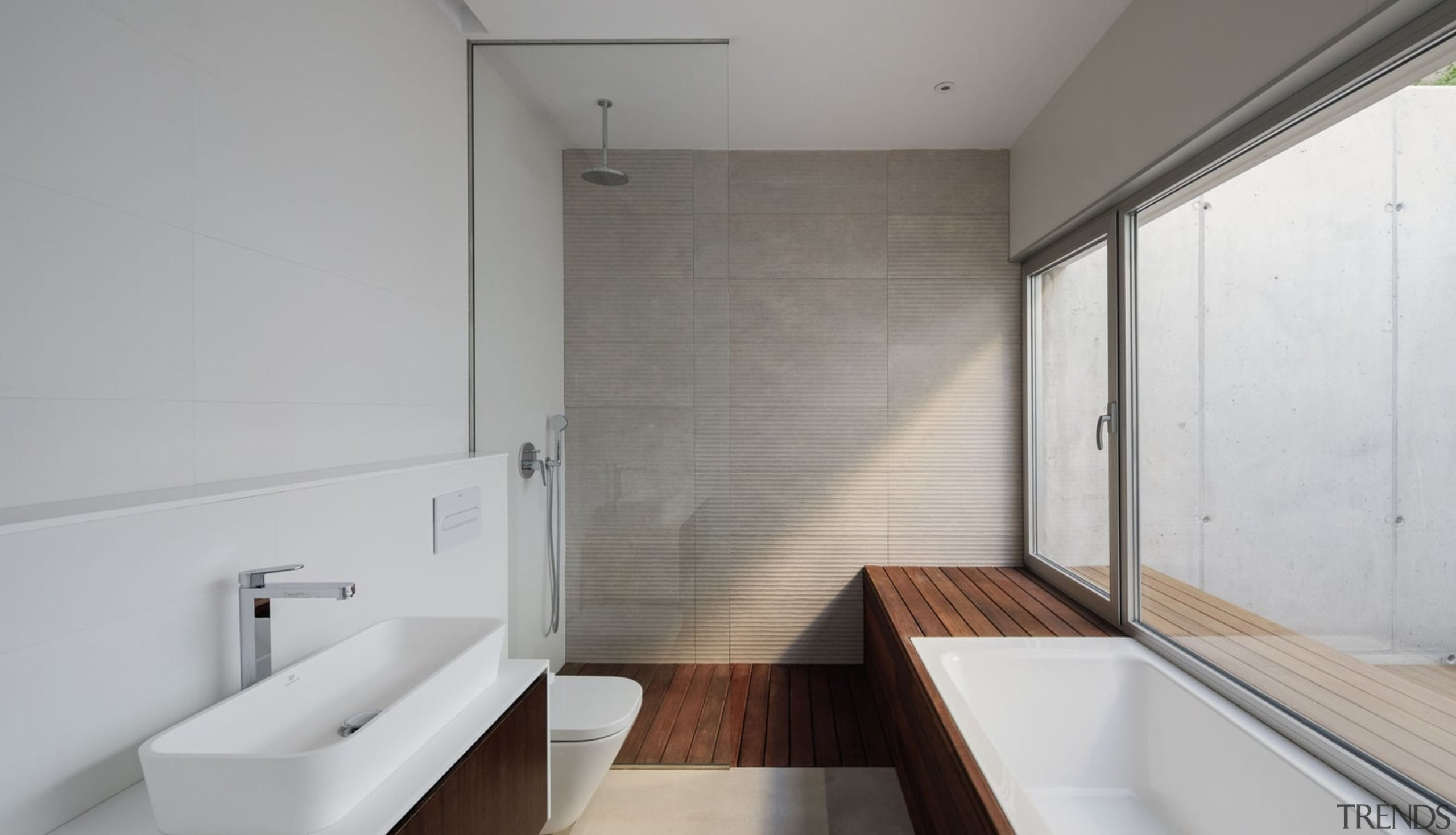 There's a raw materiality to this bathroom - architecture, bathroom, house, interior design, property, real estate, room, gray