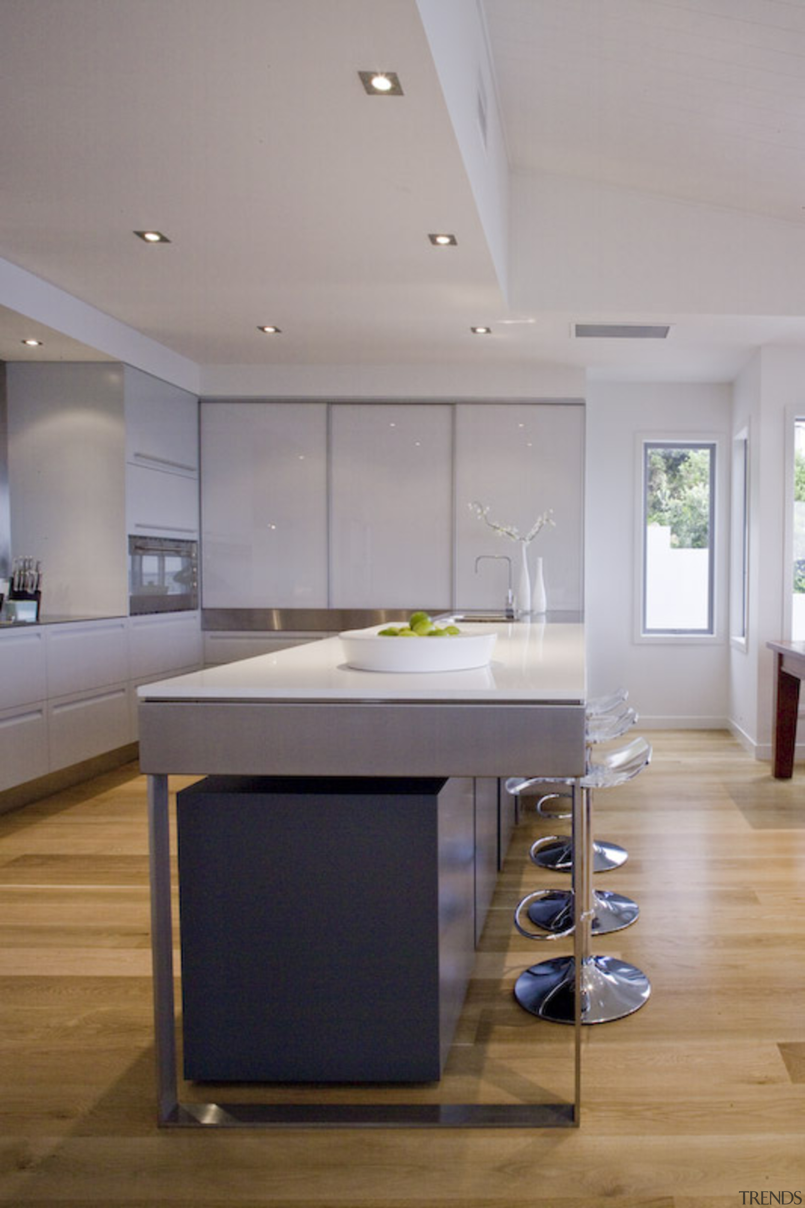 Bucklands Beach II - architecture | ceiling | architecture, ceiling, countertop, floor, flooring, interior design, kitchen, room, table, wood flooring, gray