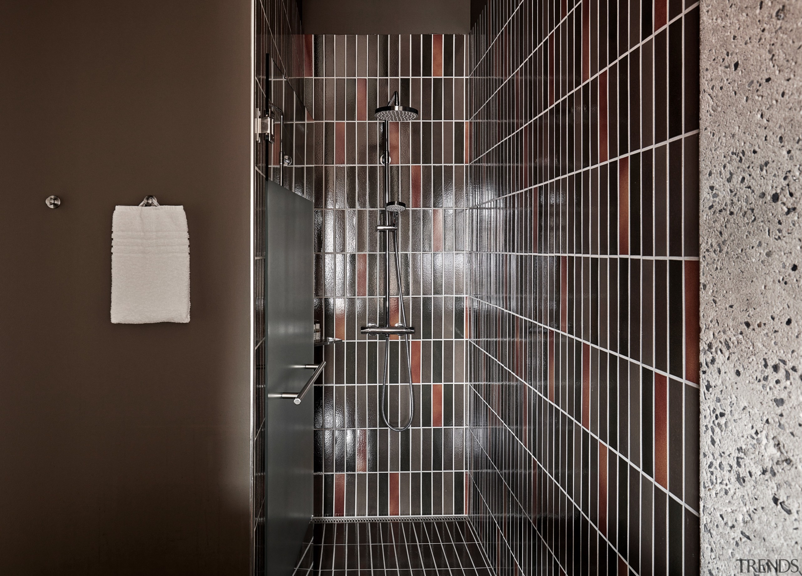 Ceramic tiles from Agrob Buchtal's Craft series adorn architecture, door, flooring, glass, line, room, tile, wall, black, gray