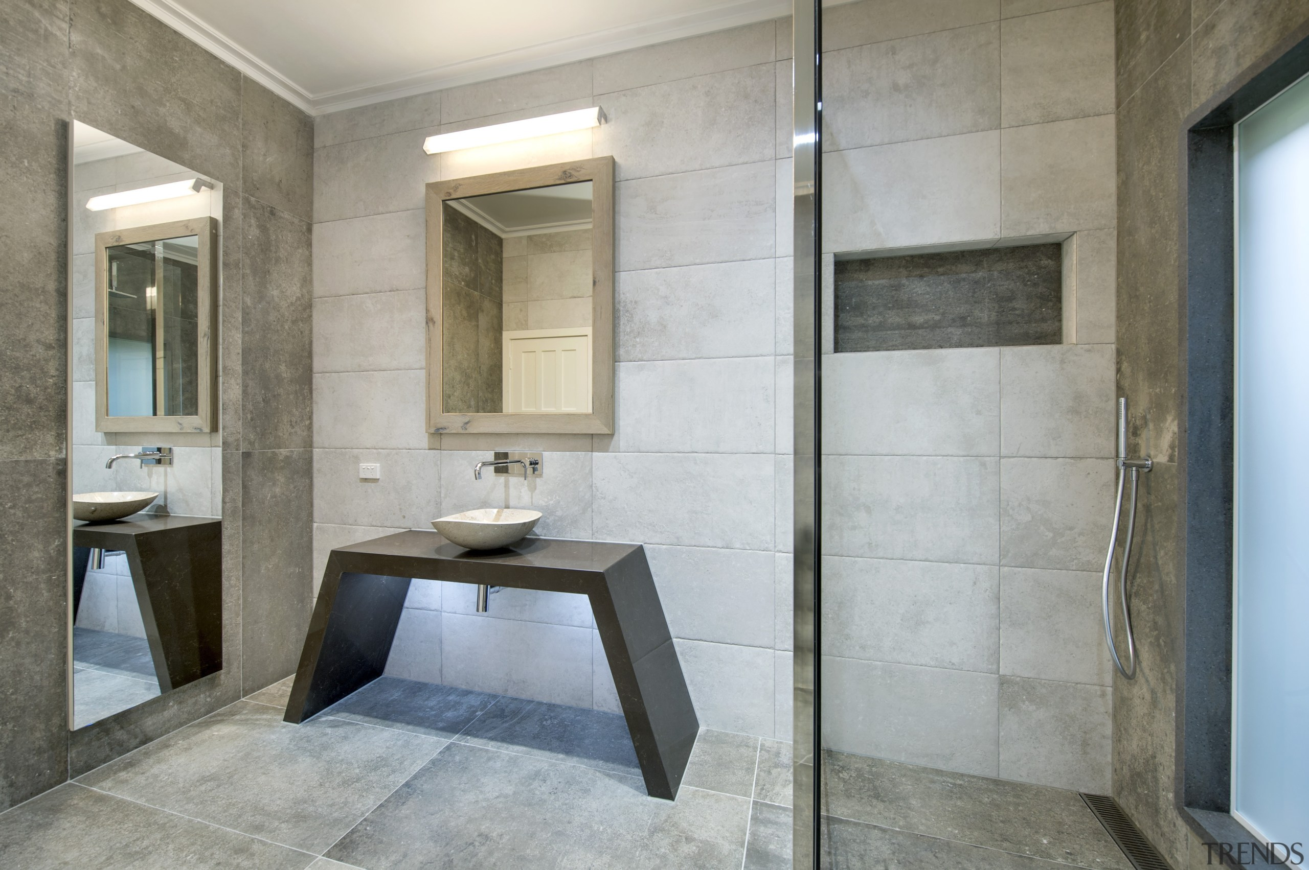 The mitred niche shelving in the shower is architecture, bathroom, floor, interior design, real estate, room, tile, gray