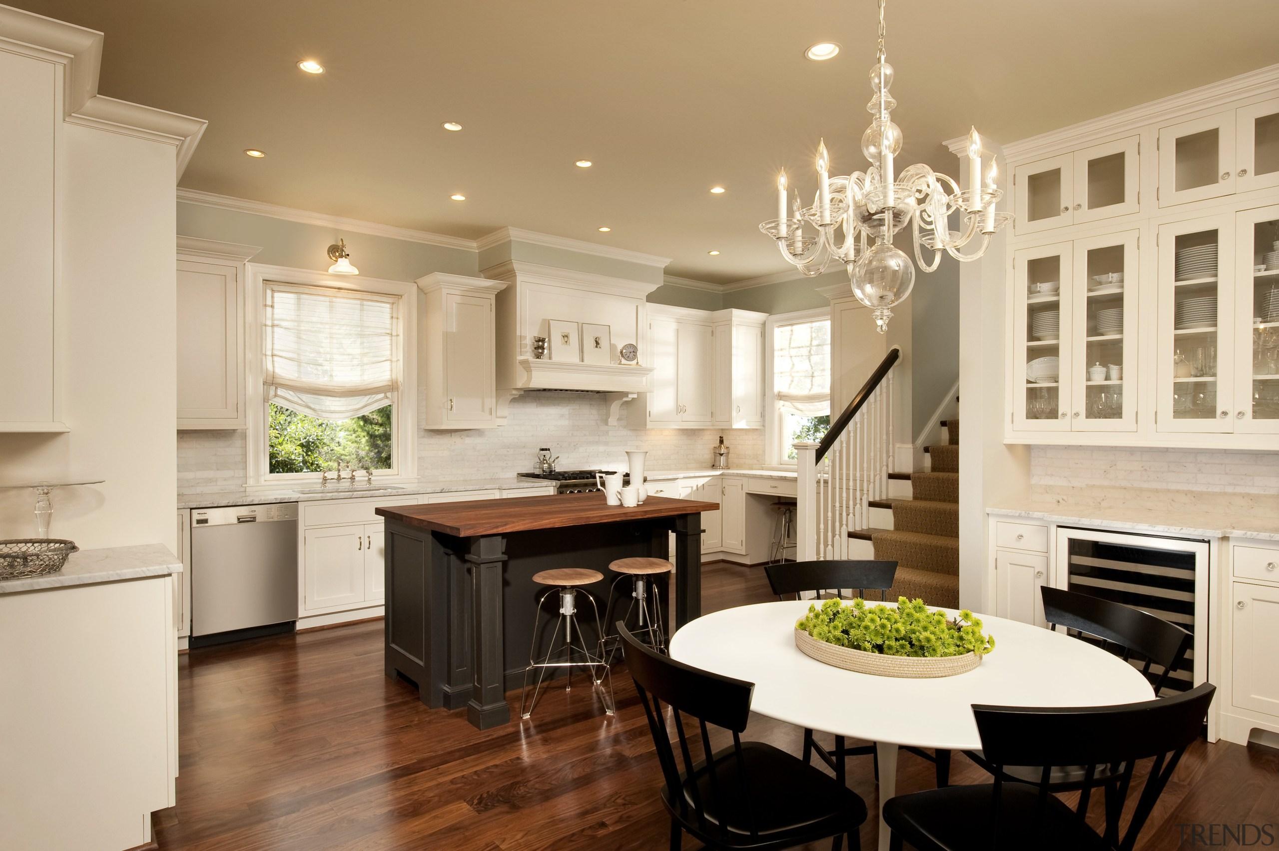 View of kitchen designed by Nadia Subaran. Designed cabinetry, ceiling, countertop, cuisine classique, home, interior design, kitchen, room, orange