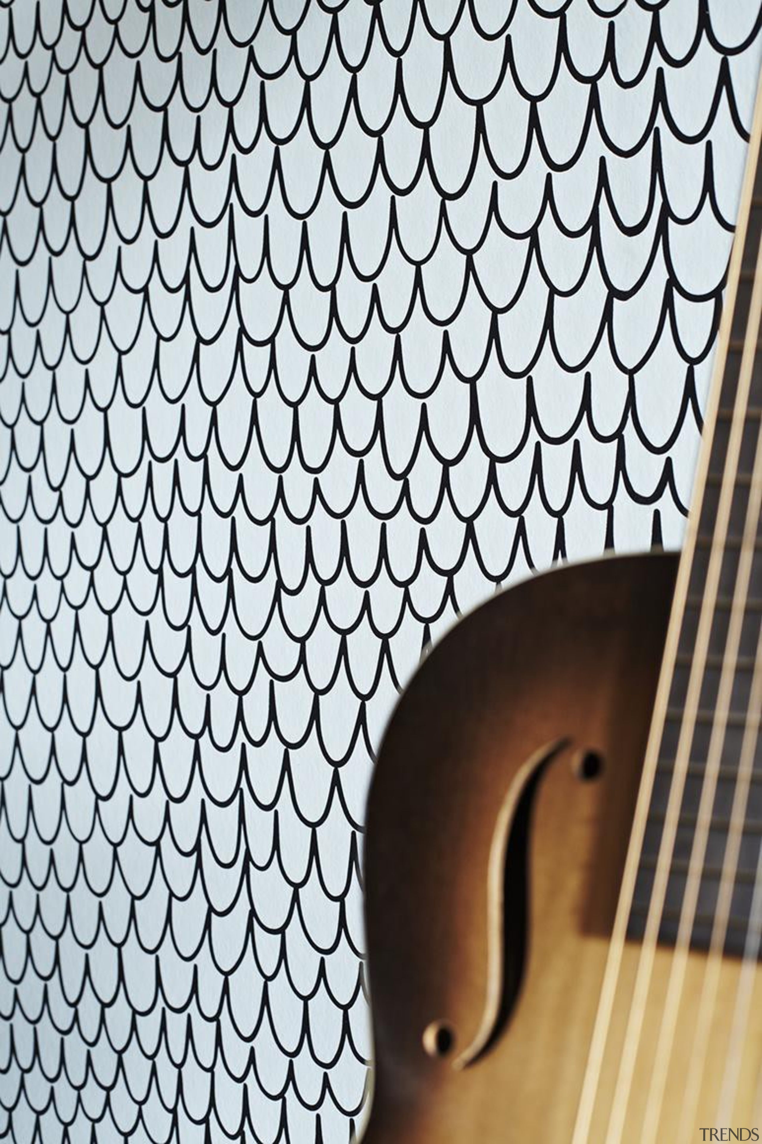 Eley Kishimoto Hand-Printed Wallpaper Collection - Eley Kishimoto font, guitar, line, mesh, musical instrument, pattern, plucked string instruments, string instrument, white