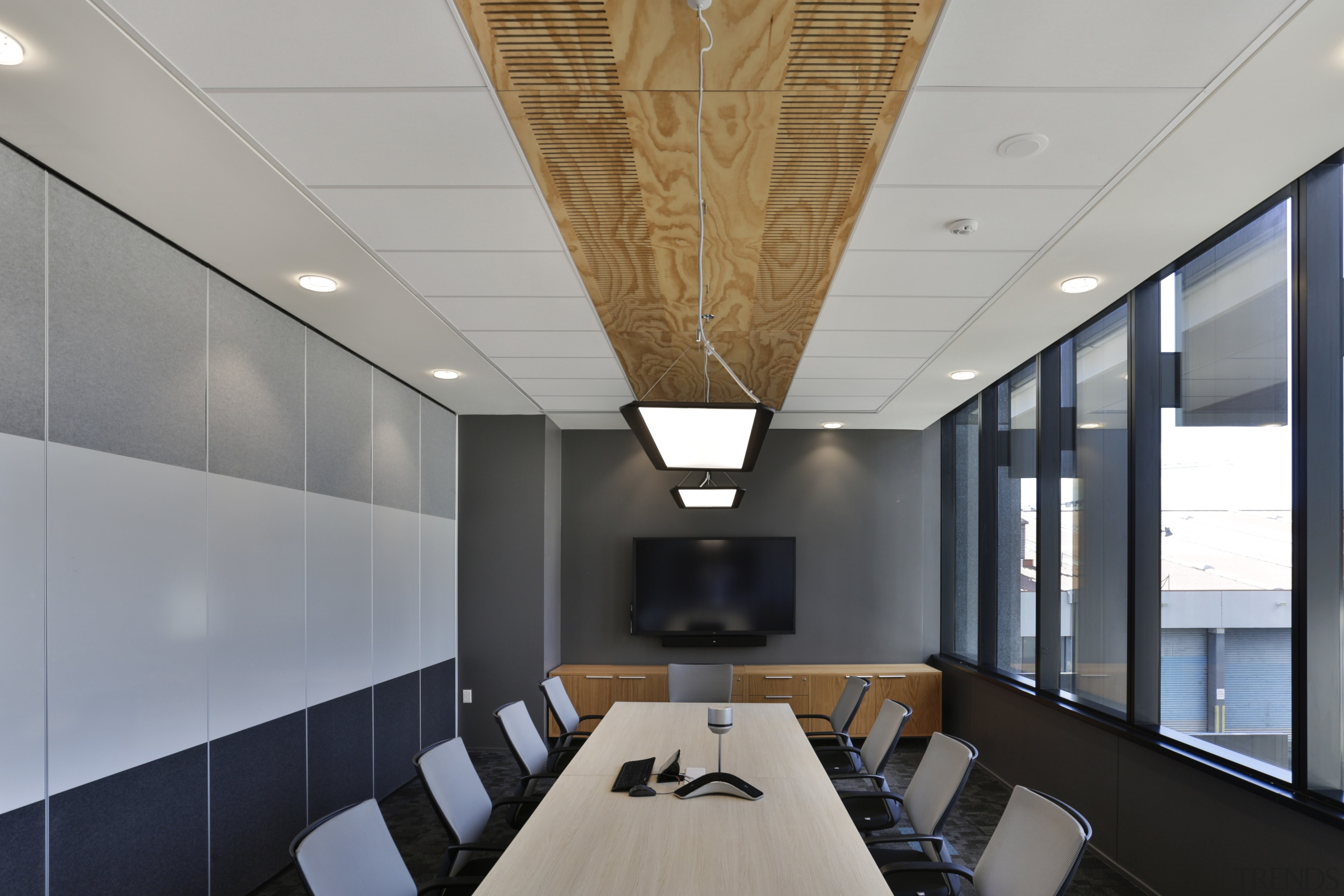Armstrong Ultima ceiling tiles were used in the architecture, ceiling, conference hall, daylighting, interior design, office, gray