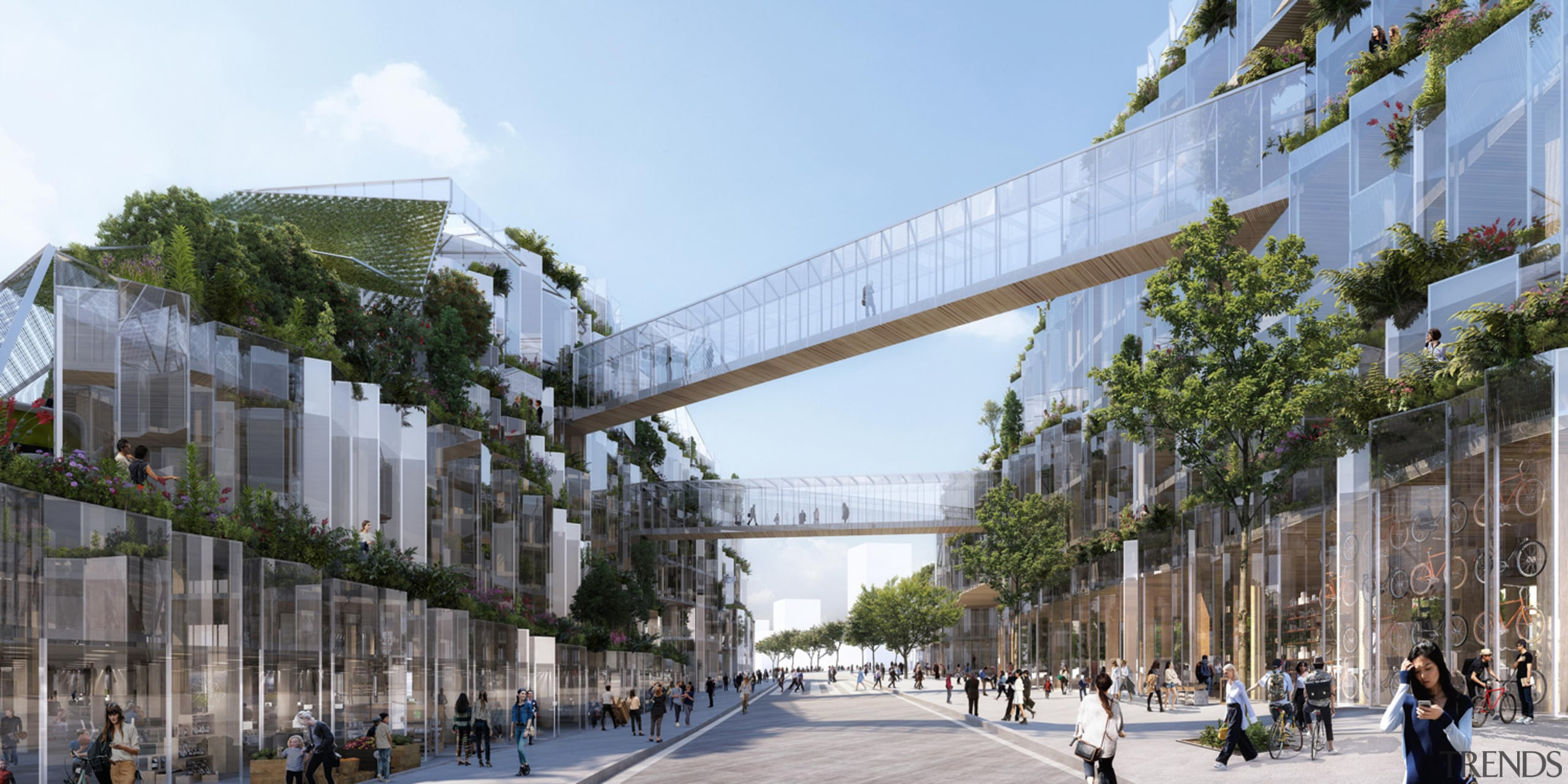 Sky bridges were an important part of the architecture, building, city, metropolitan area, mixed use, structure, tree, urban design, teal