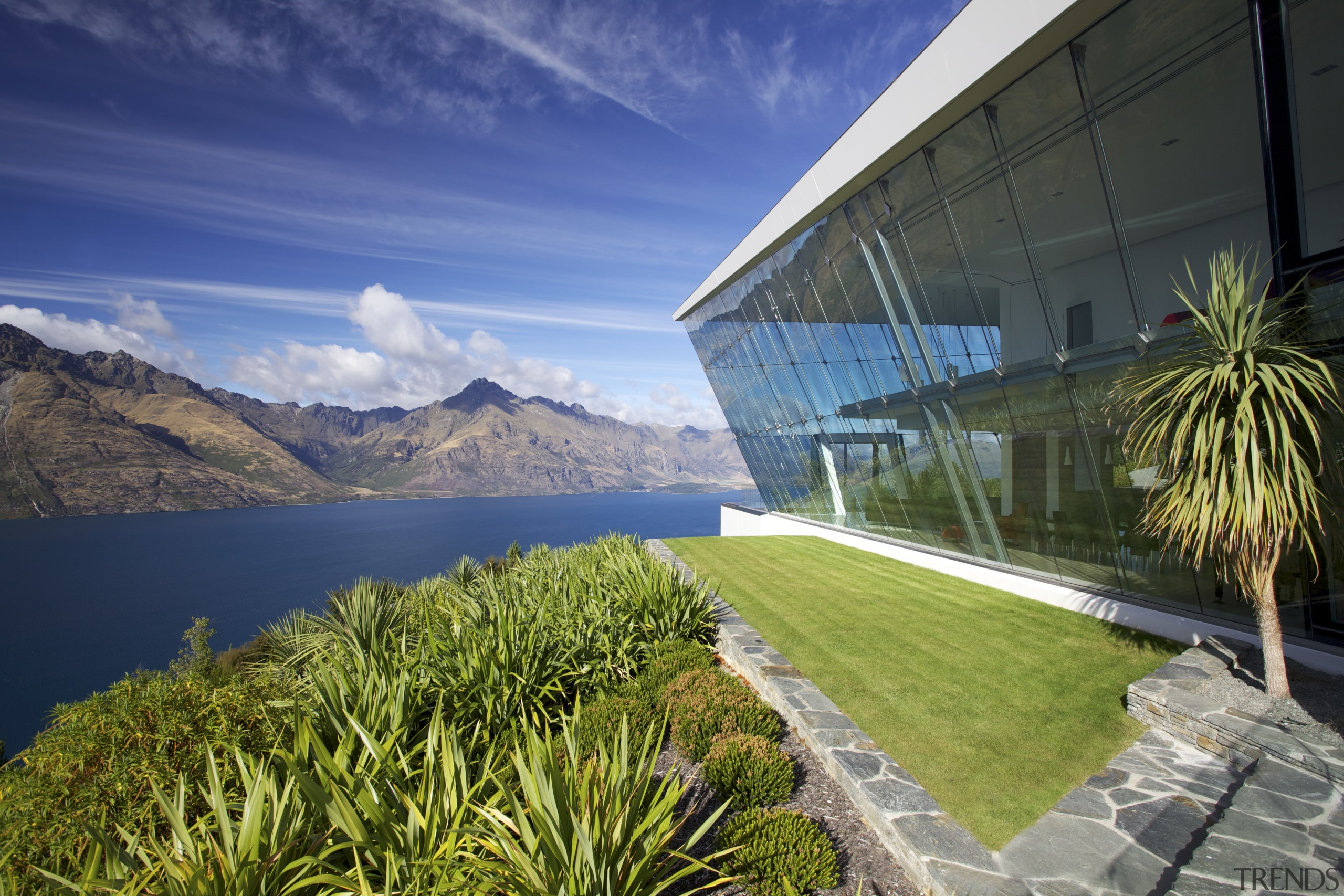 Off the edge  Queenstown glass pavilion Julian architecture, estate, grass, landscape, real estate, reflection, sky, water, blue