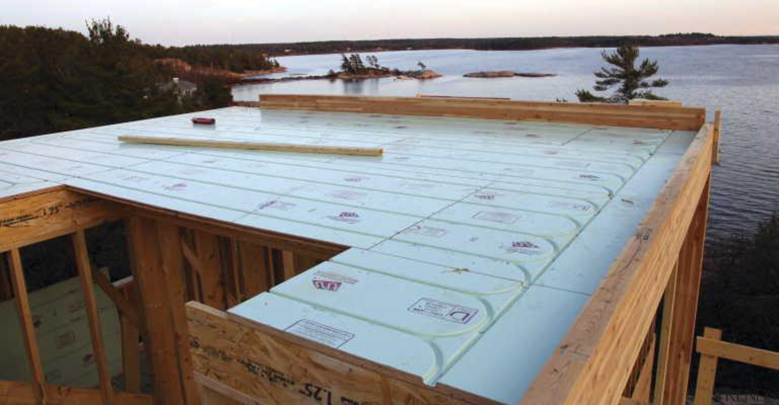 Warmboard provides and eco friendly, quiet and efficient daylighting, floor, roof, wood, wood stain, gray, brown