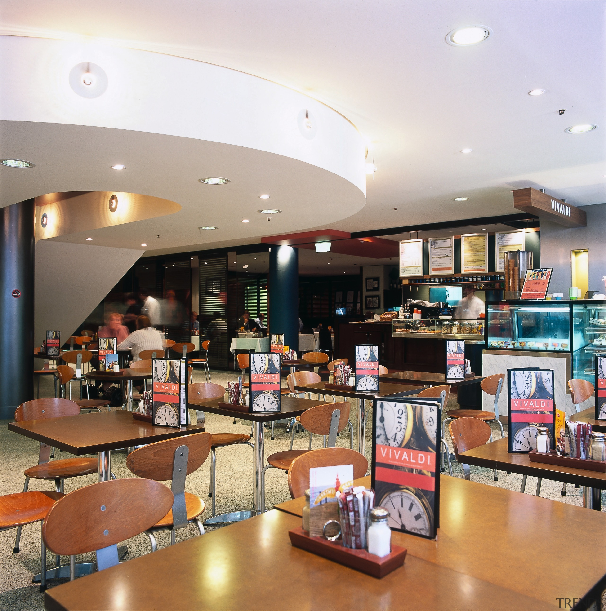 View of another eatery area inside the mall, cafeteria, food court, interior design, restaurant, white