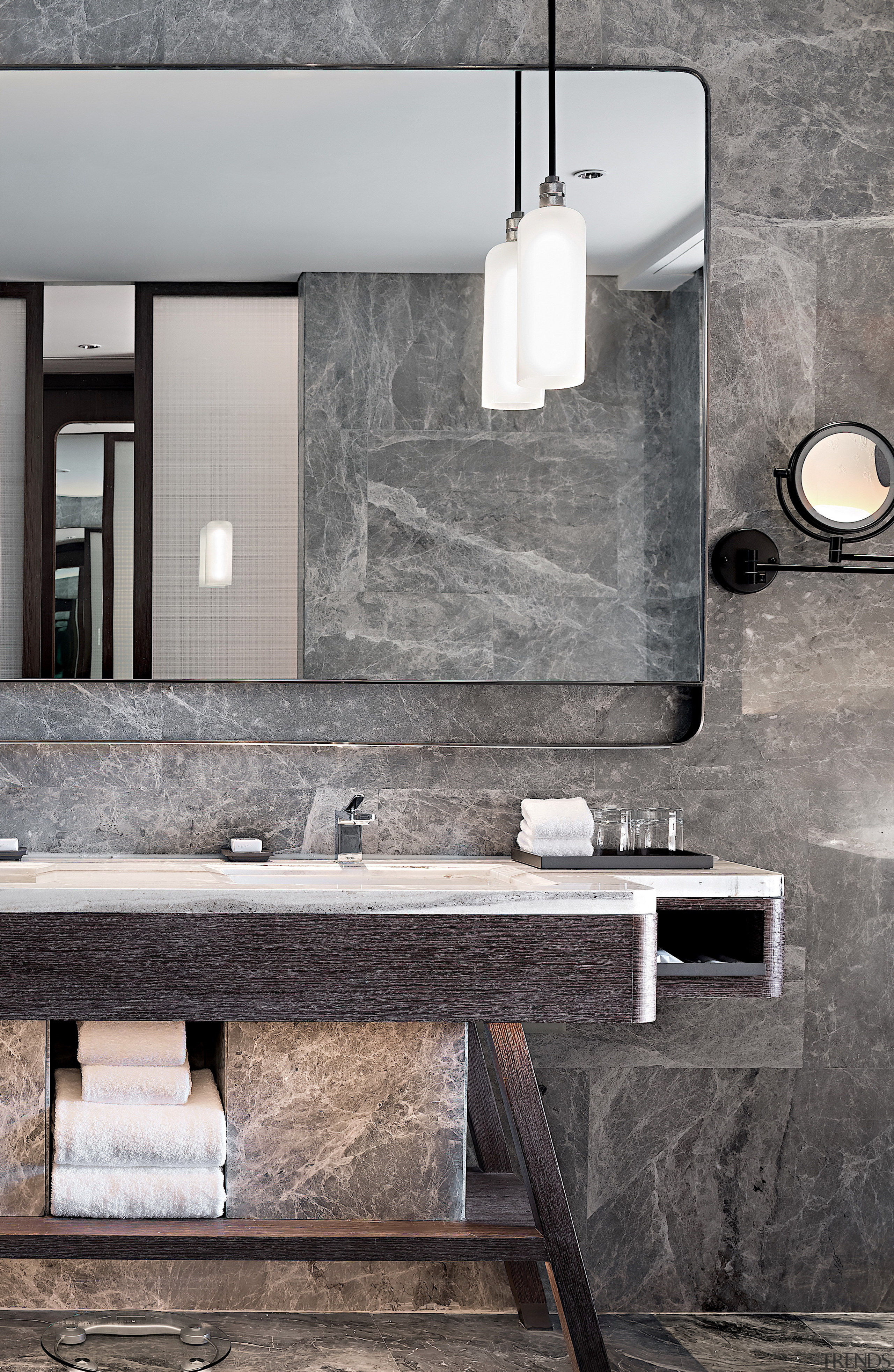 The bathrooms in the Executive Suites combine a