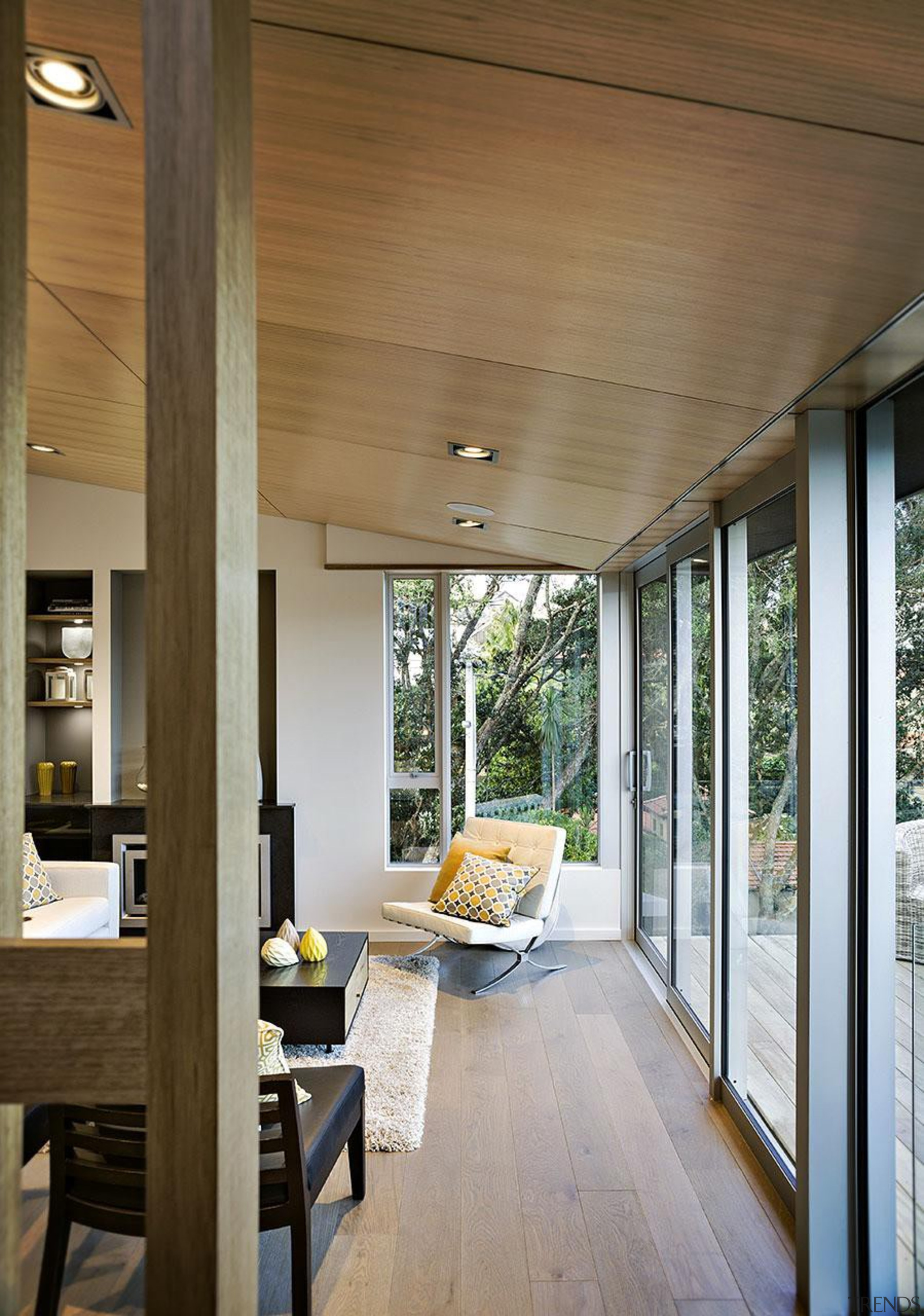 Windowmakers played a vital part in ensuring her architecture, ceiling, door, home, house, interior design, porch, siding, window, wood, brown