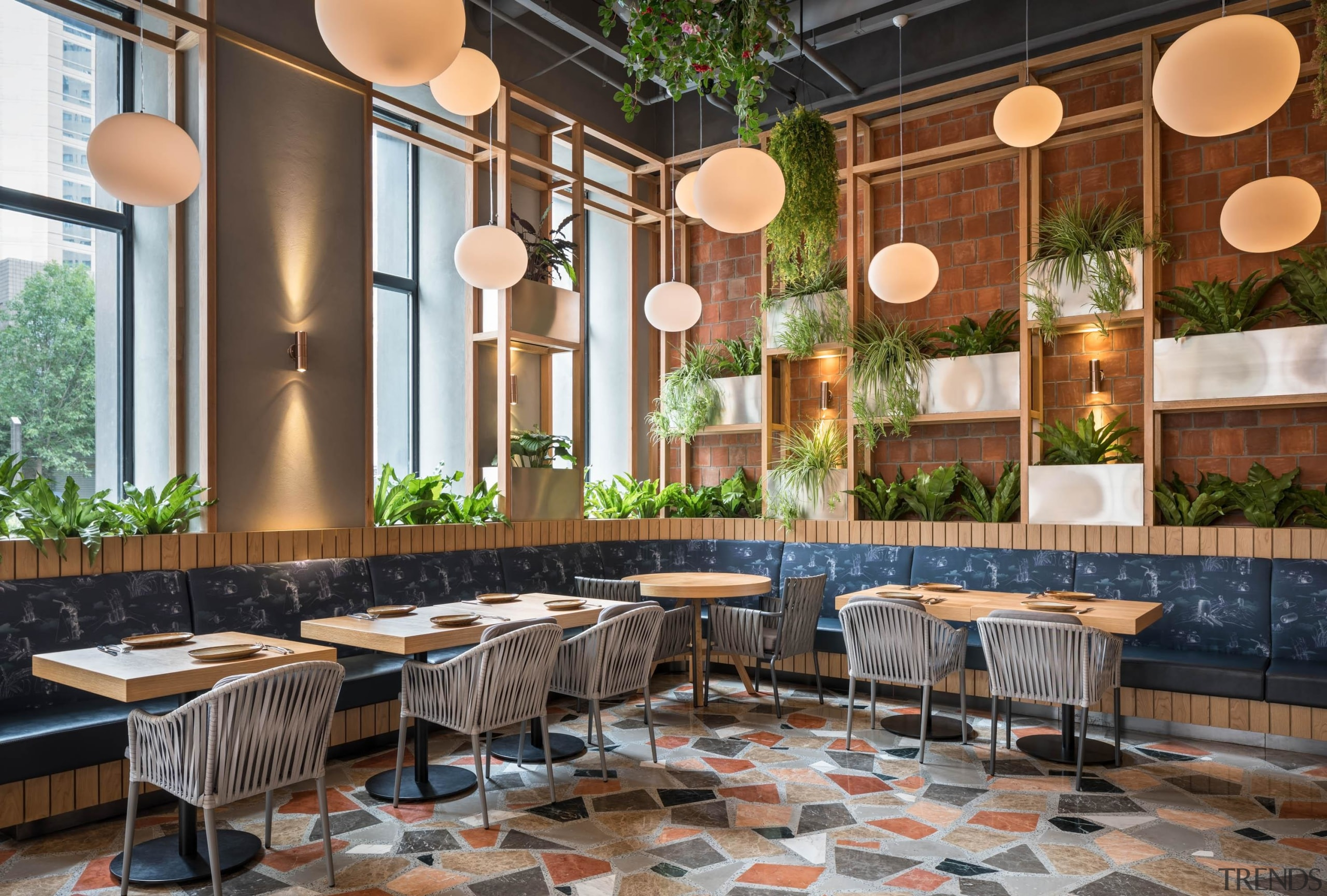 The designers carefully selected different elements such as architecture, brunch, building, café, cafeteria, coffeehouse, furniture, home, house, interior design, lobby, property, real estate, restaurant, room, table, brown