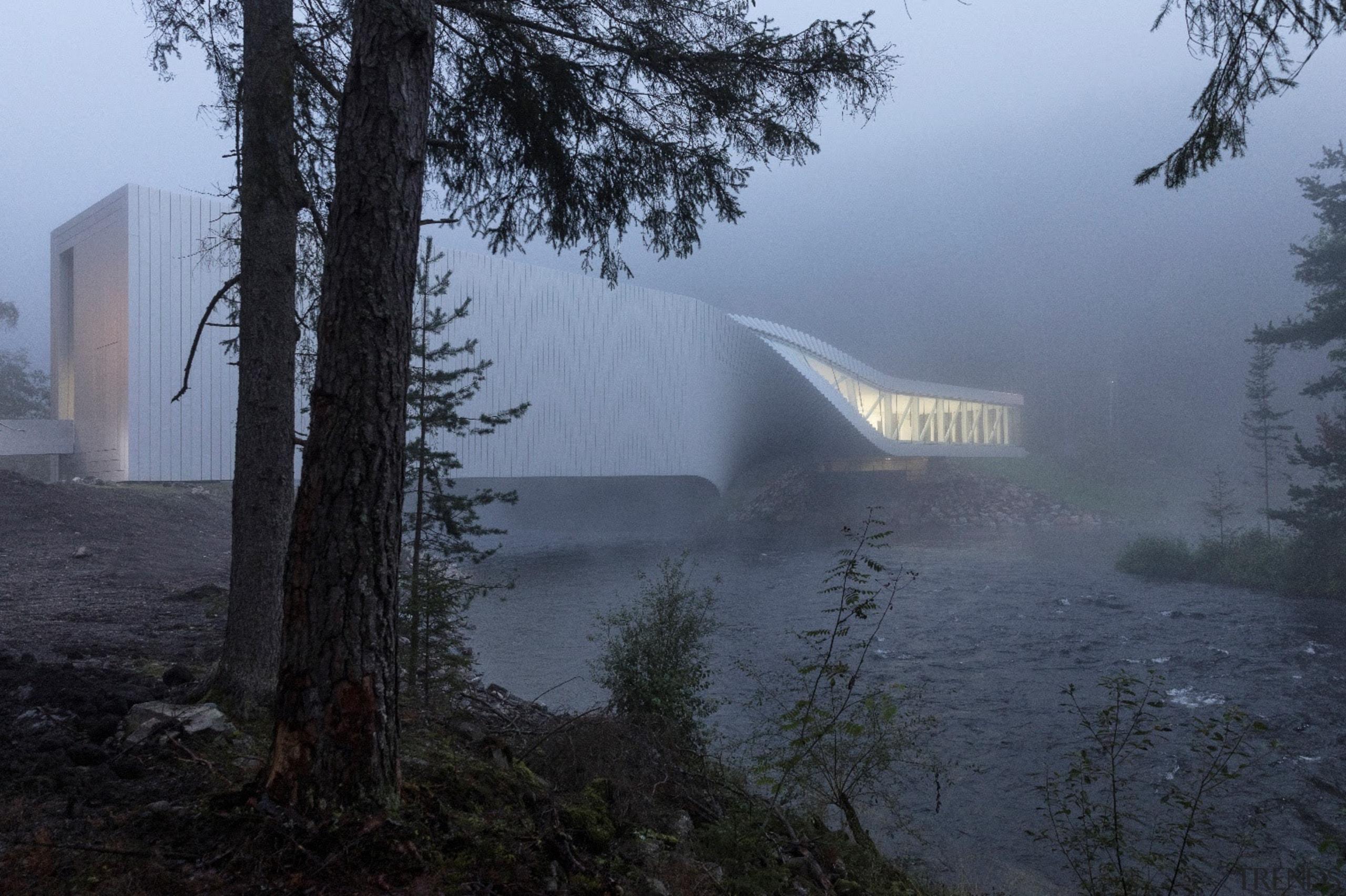 Seen through a dawn mist, the Twist Museum architecture, atmospheric phenomenon, fog, haze, mist, morning, sky, tree, black