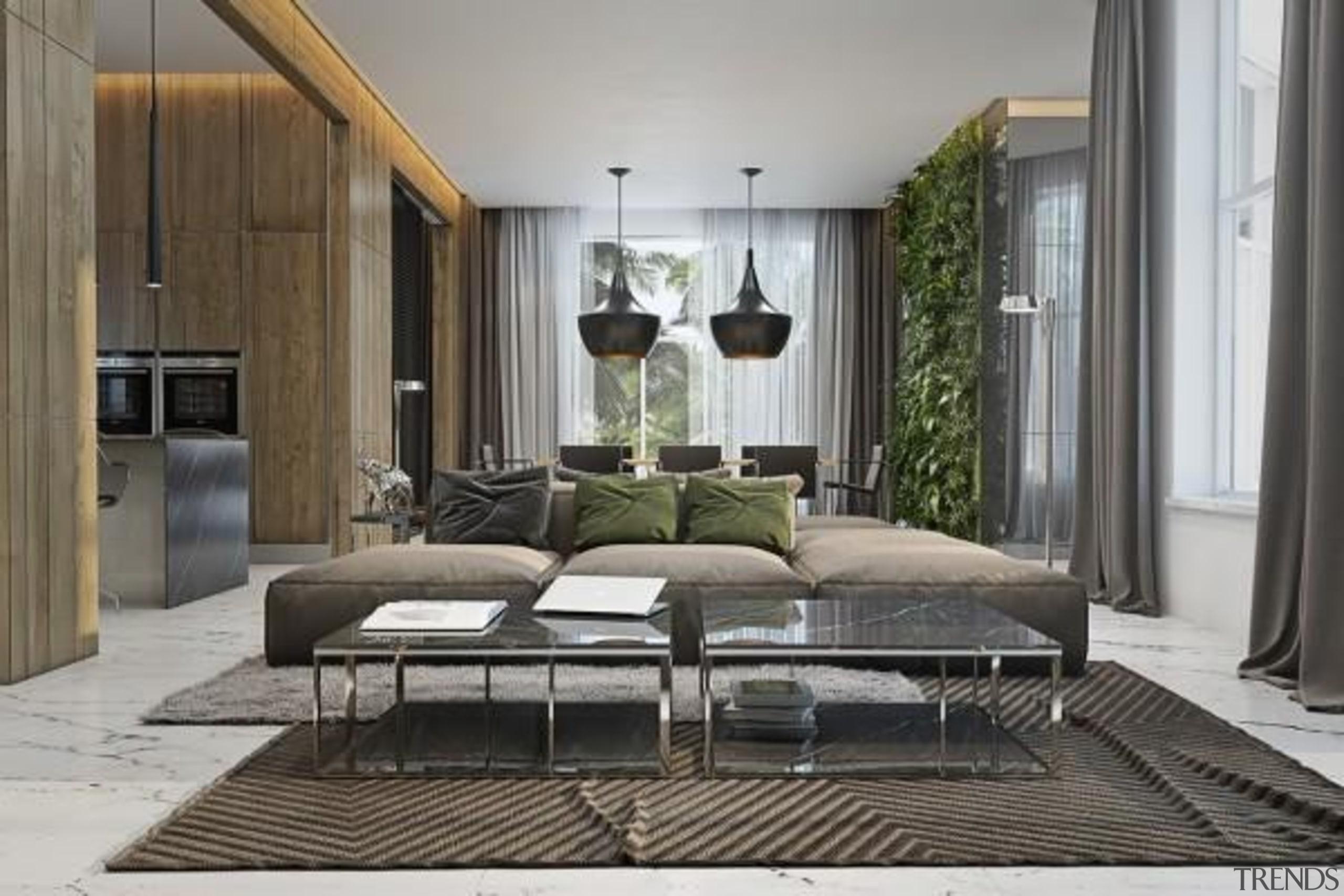 modern couch - Masculine Apartments - floor   floor, furniture, interior design, living room, gray, black
