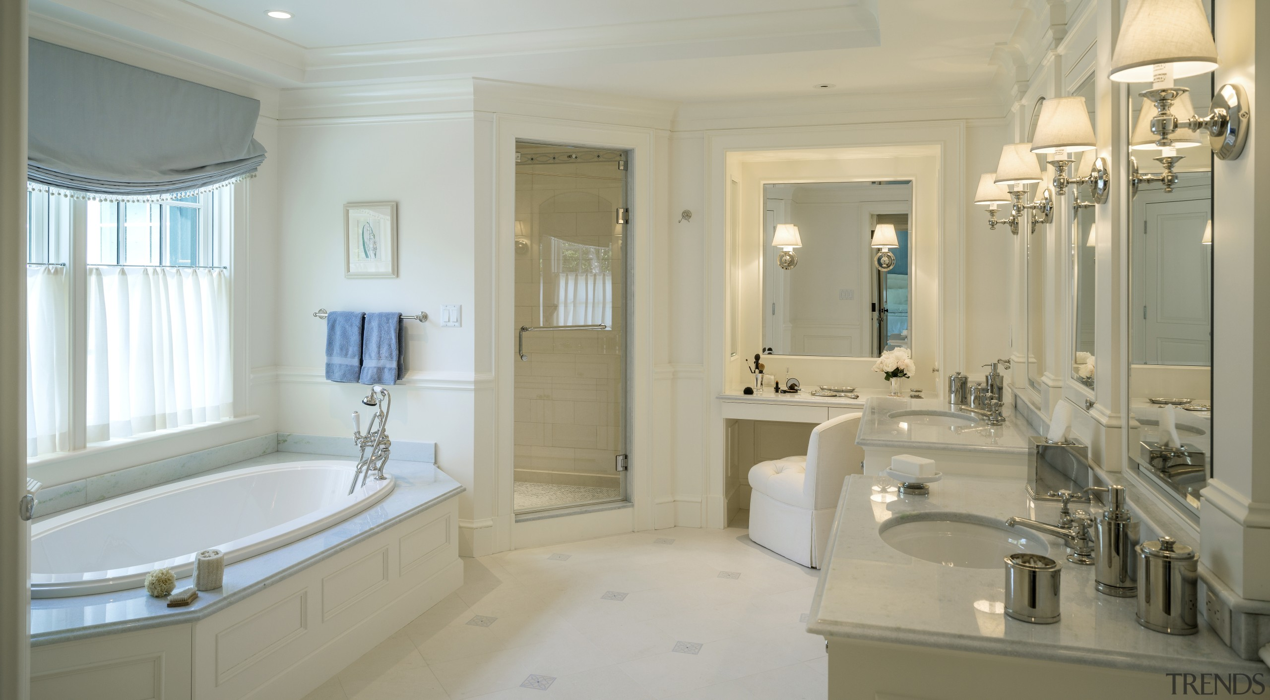 Painted millwork reinforces the traditional character of this bathroom, estate, home, interior design, property, real estate, room, wall, window, orange, gray